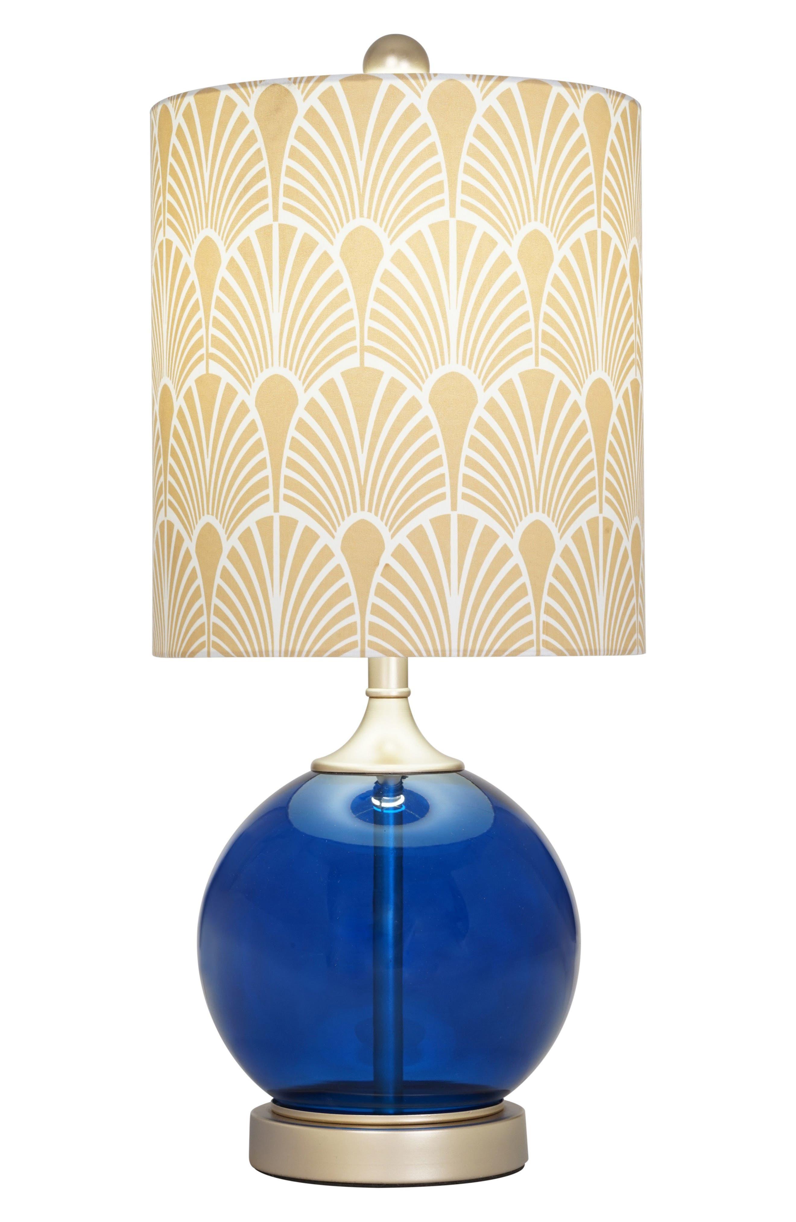 Blue Glass Table Lamp,                             Alternate thumbnail 2, color,                             Dark Blue