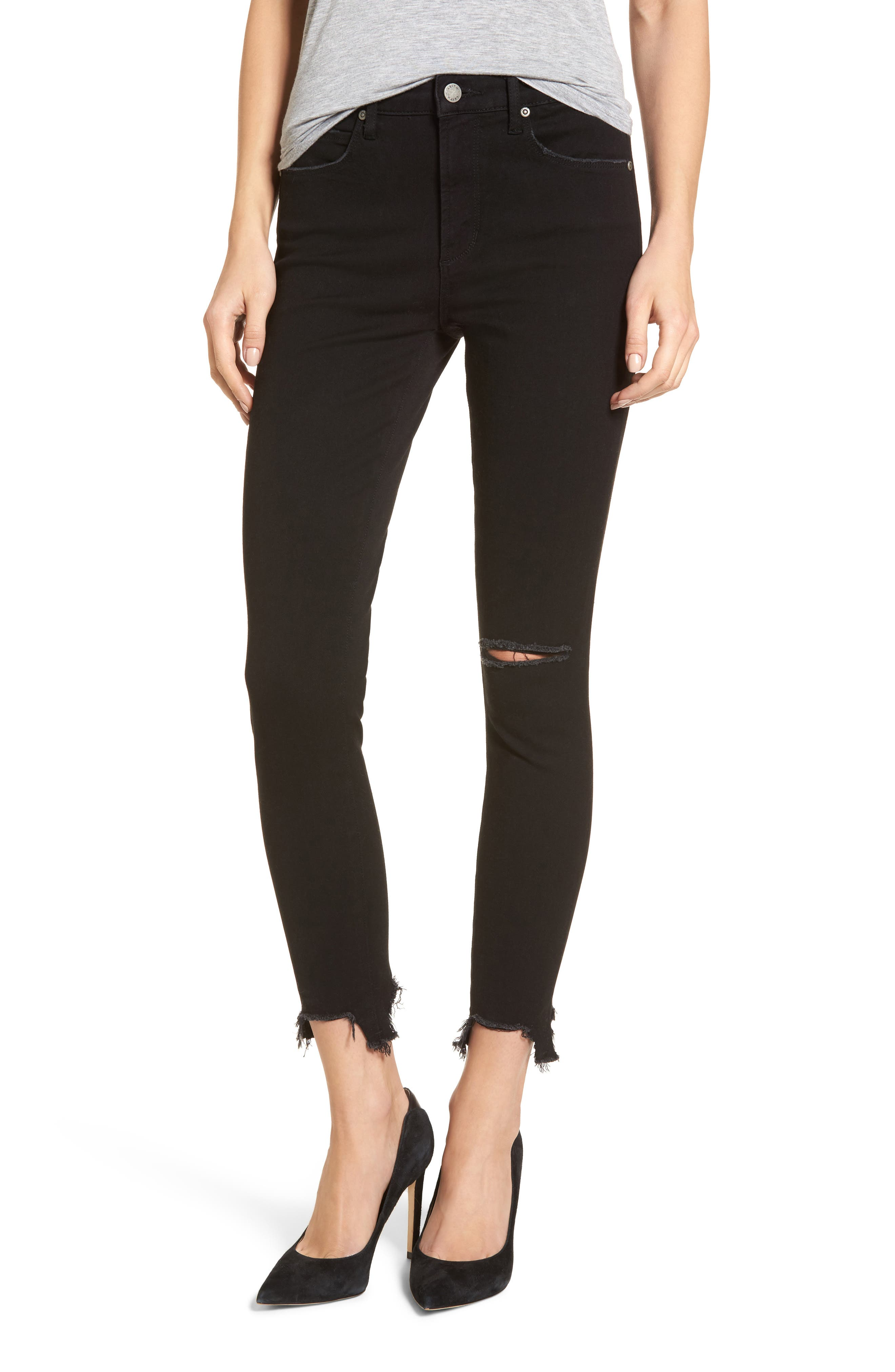 Ripped Step Hem Skinny Jeans,                         Main,                         color, Black