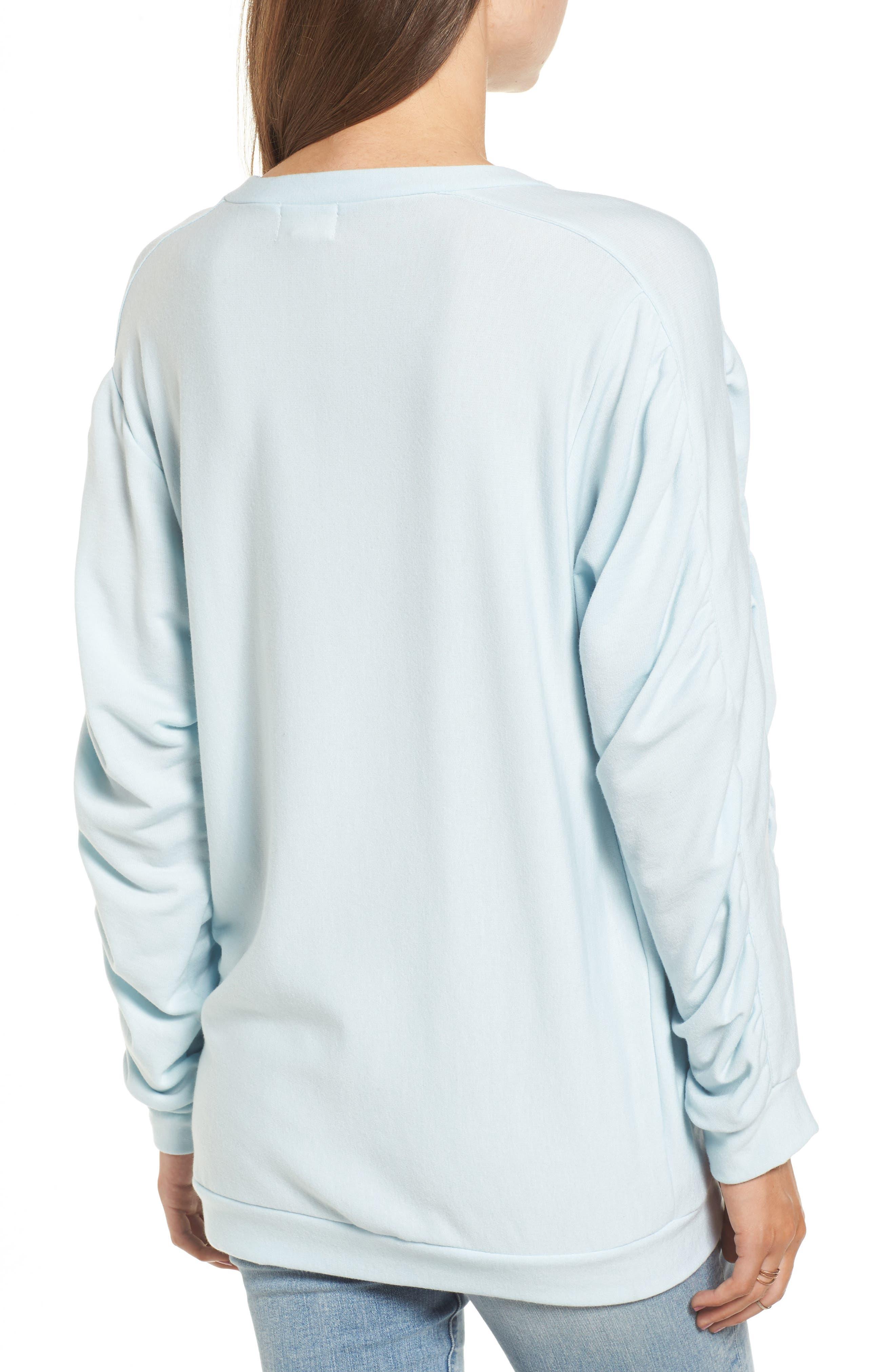 Ruched Sleeve Sweatshirt,                             Alternate thumbnail 2, color,                             Light Blue