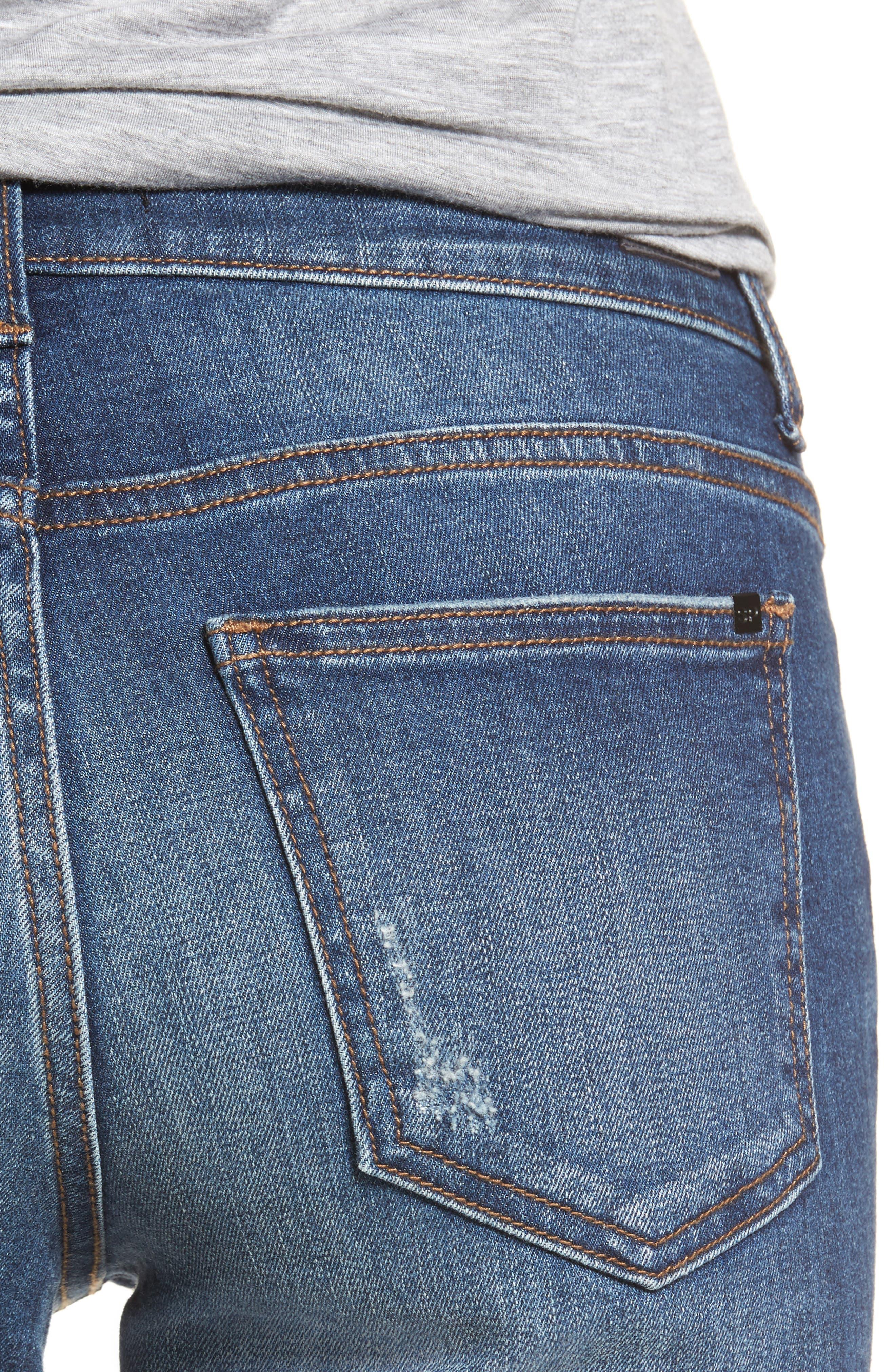 Pierced Hem Skinny Jeans,                             Alternate thumbnail 4, color,                             Medium Wash