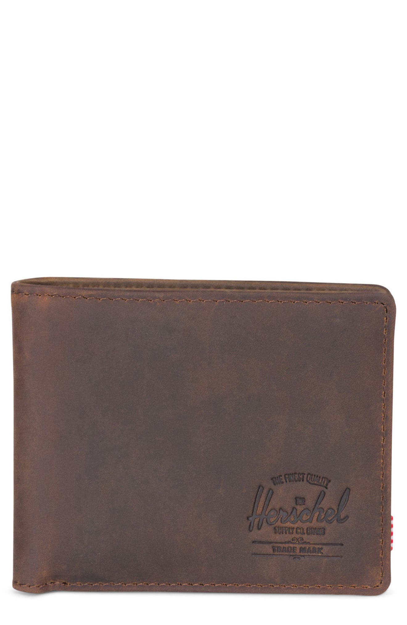 Hank Leather Wallet,                         Main,                         color, Nubuck Leather