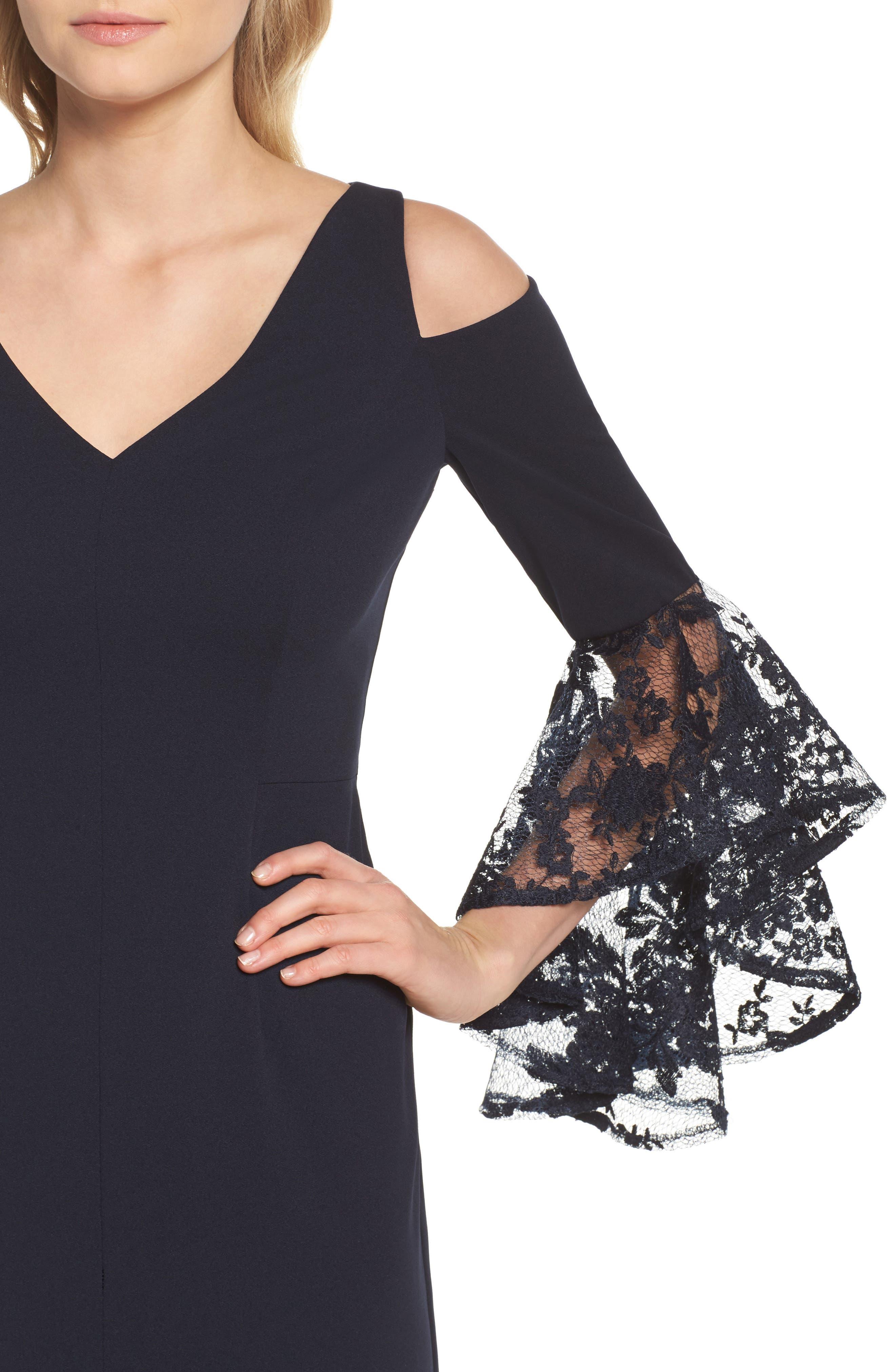 Cold Shoulder Sheath Dress,                             Alternate thumbnail 4, color,                             Dark Navy