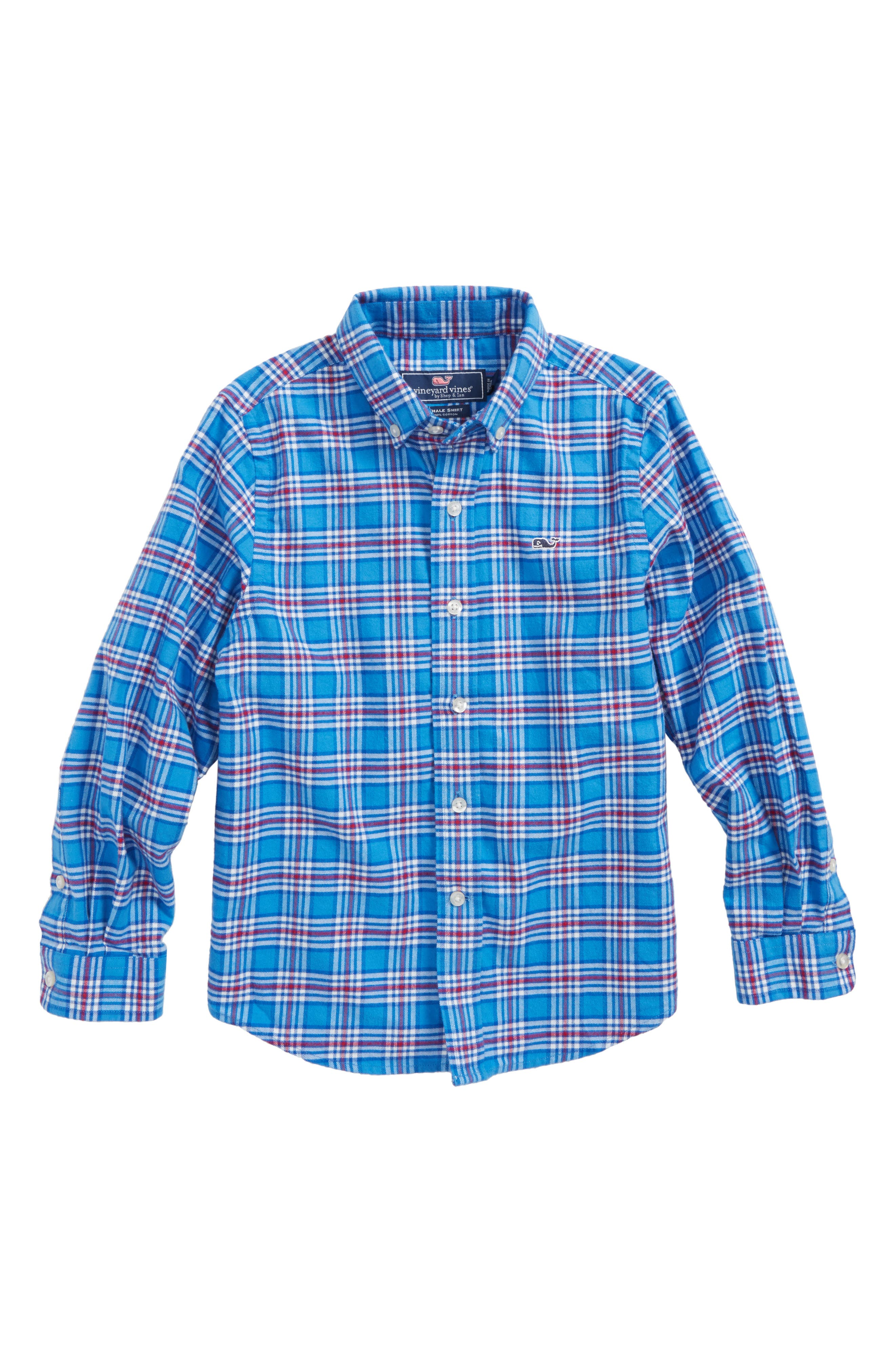 Chandler Pond Plaid Flannel Shirt,                             Main thumbnail 1, color,                             Hull Blue