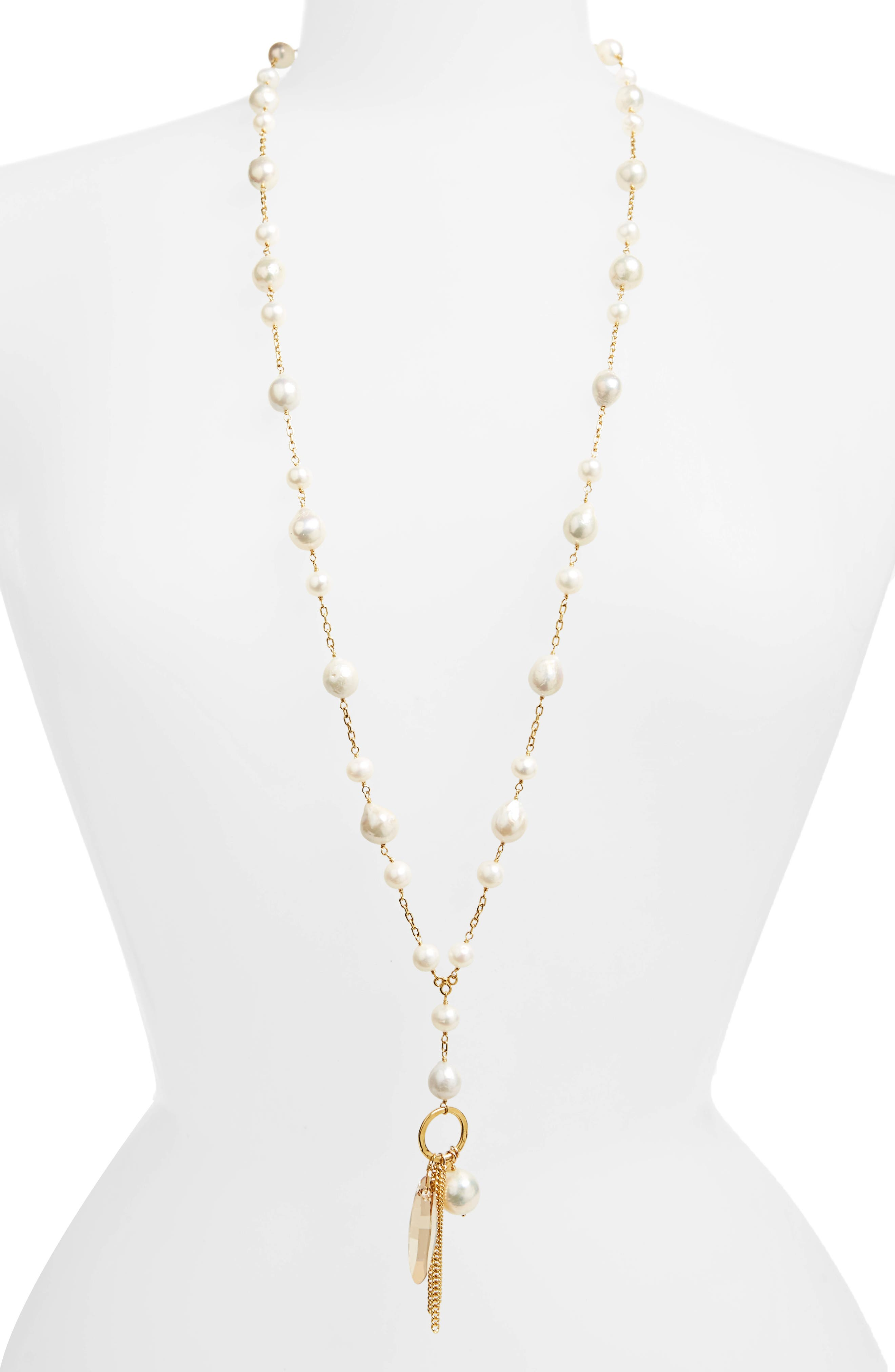 Mix Charm Cultured Pearl Necklace,                         Main,                         color, White Pearl