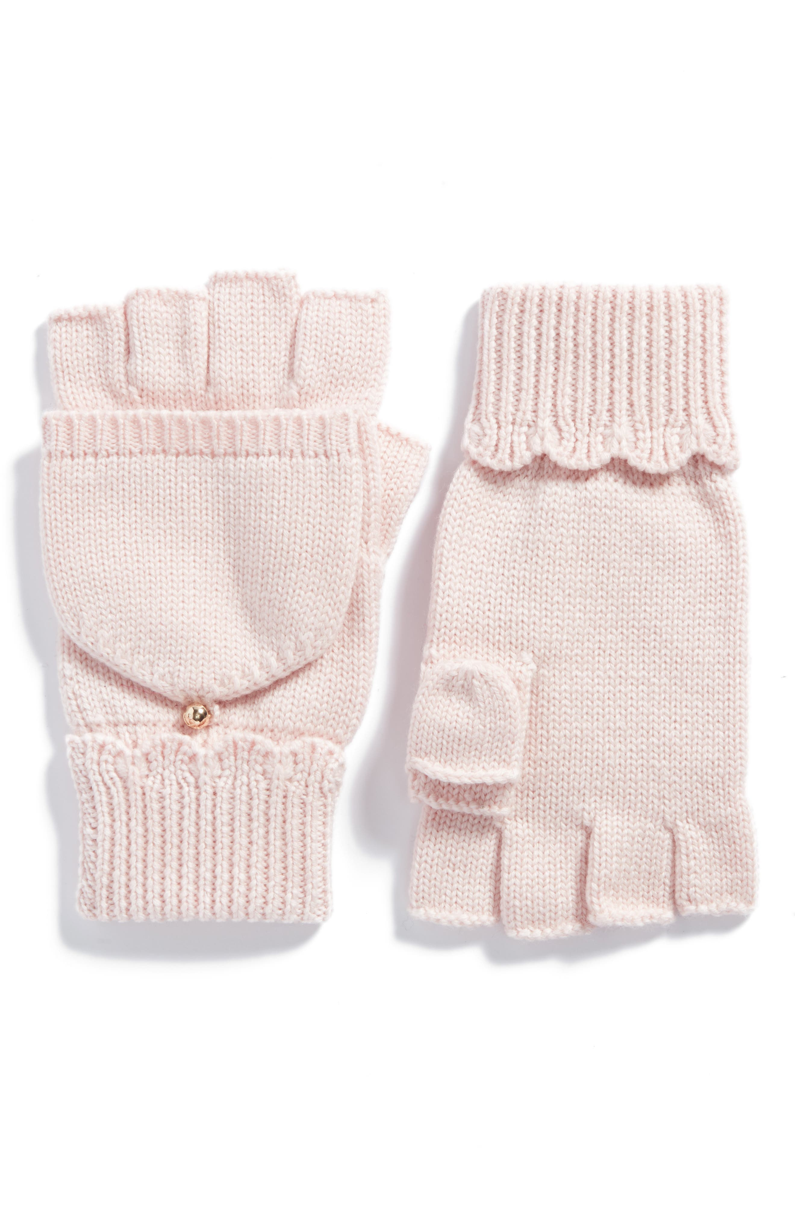 scallop pop top merino wool mittens,                             Main thumbnail 1, color,                             Rose Dew