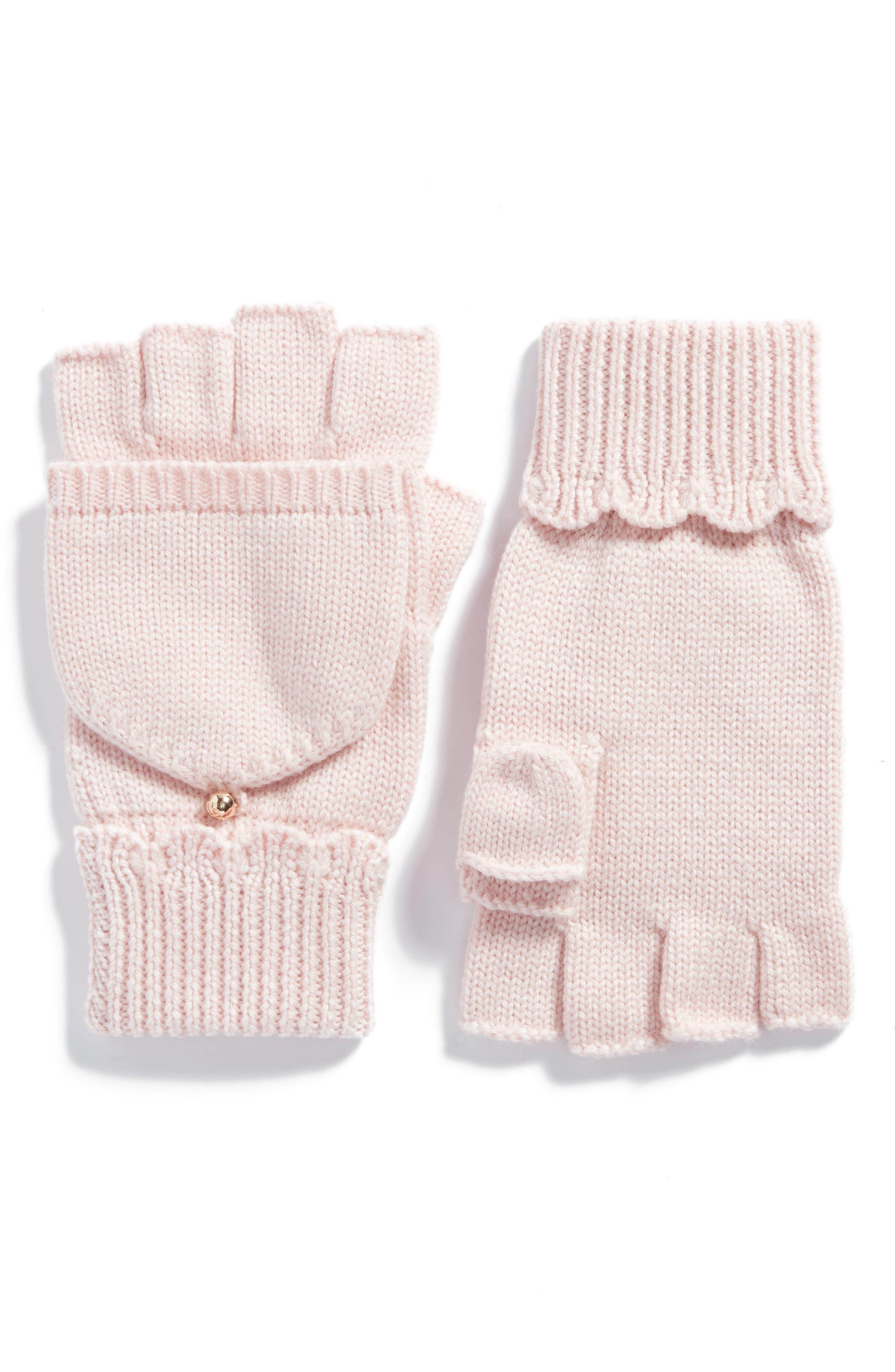 scallop pop top merino wool mittens,                         Main,                         color, Rose Dew