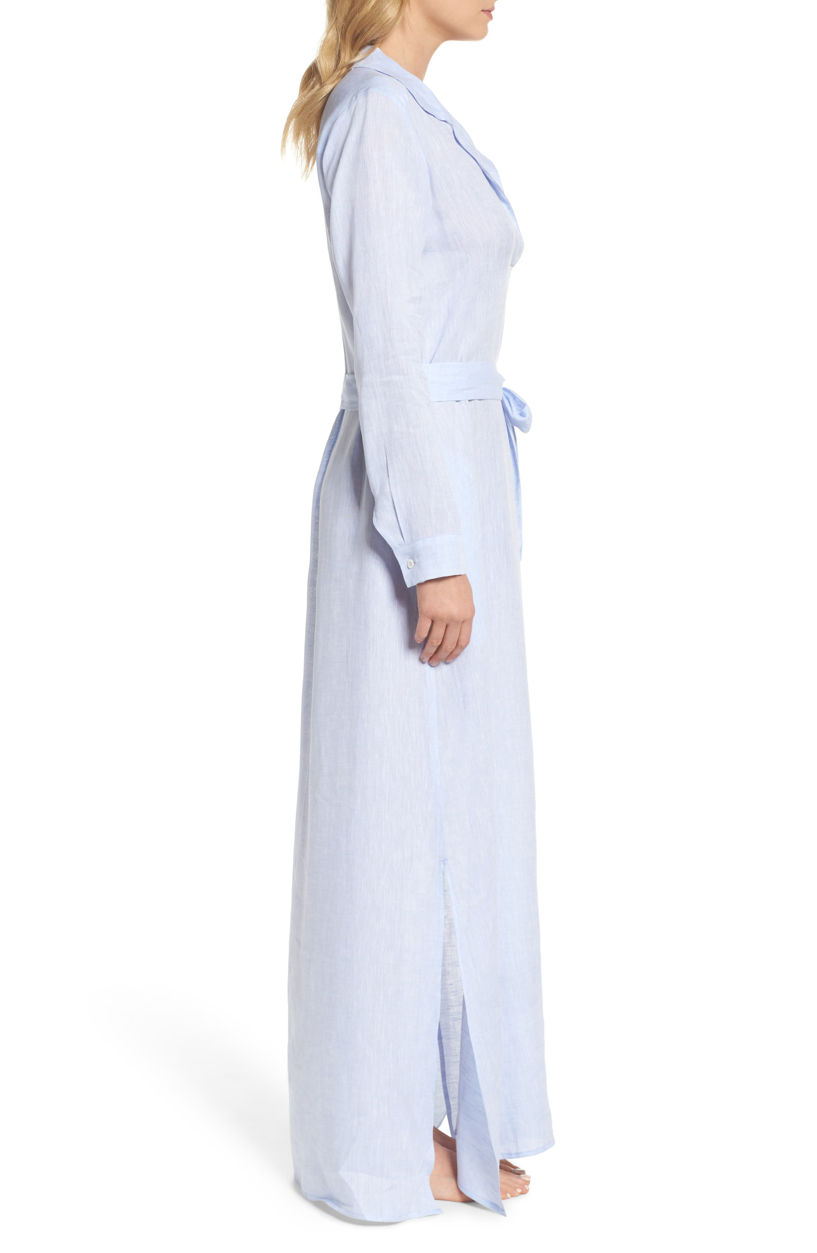 Alternate Image 3  - Pour Les Femmes Linen Maxi Sleep Shirtdress