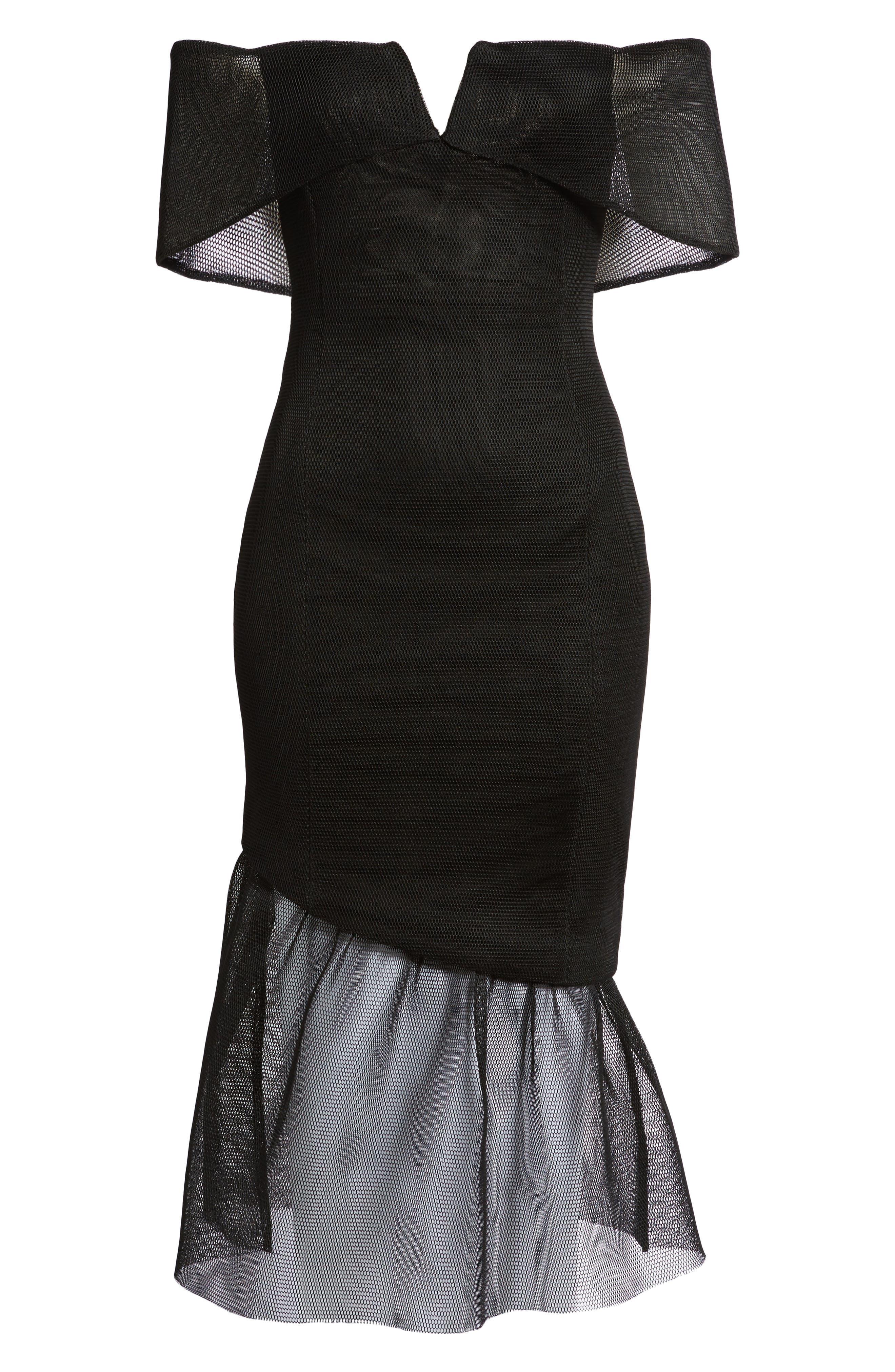 Fate Off the Shoulder Dress,                             Alternate thumbnail 6, color,                             Black