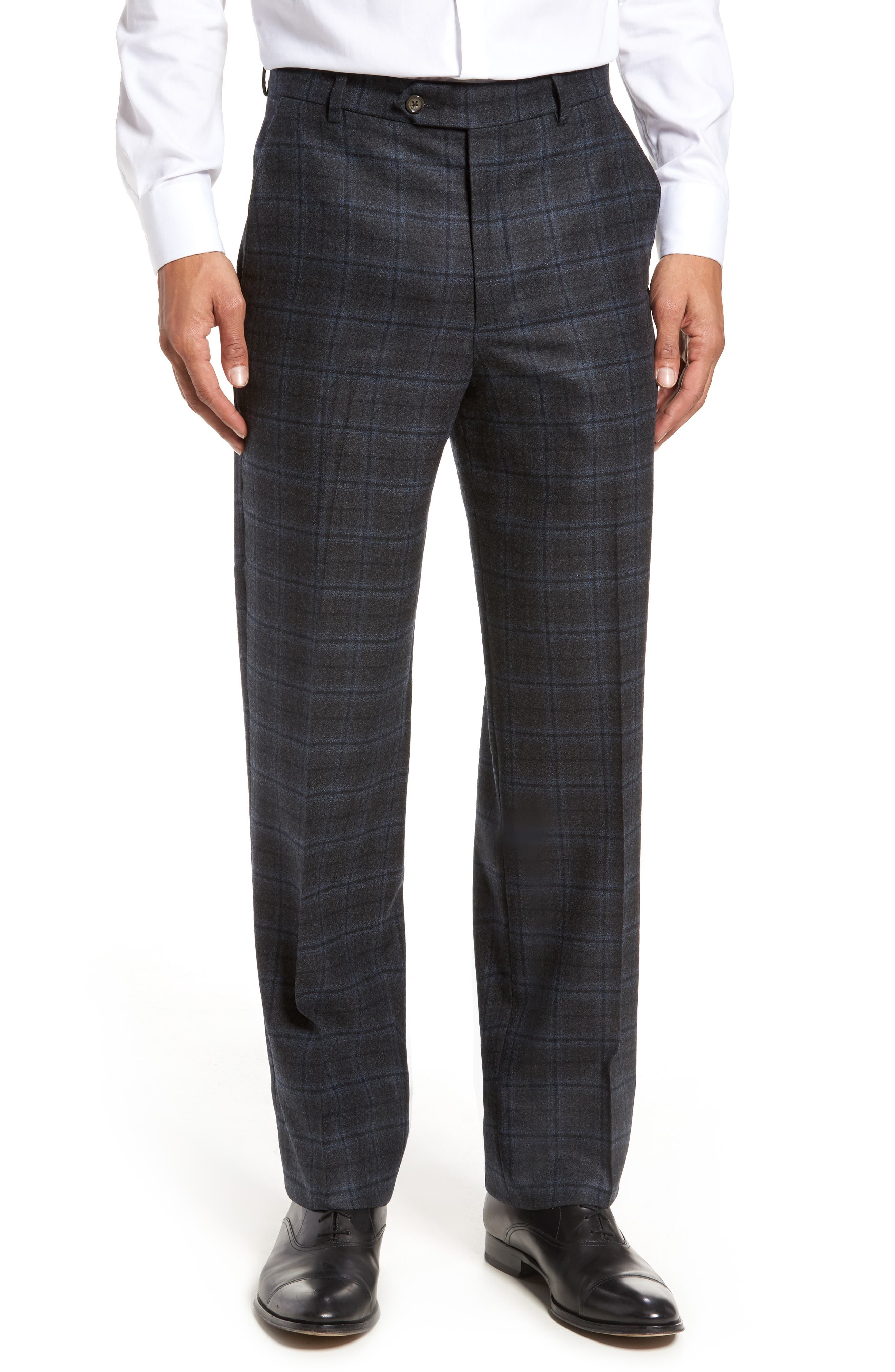 Flat Front Windowpane Wool Trousers,                         Main,                         color, Grey