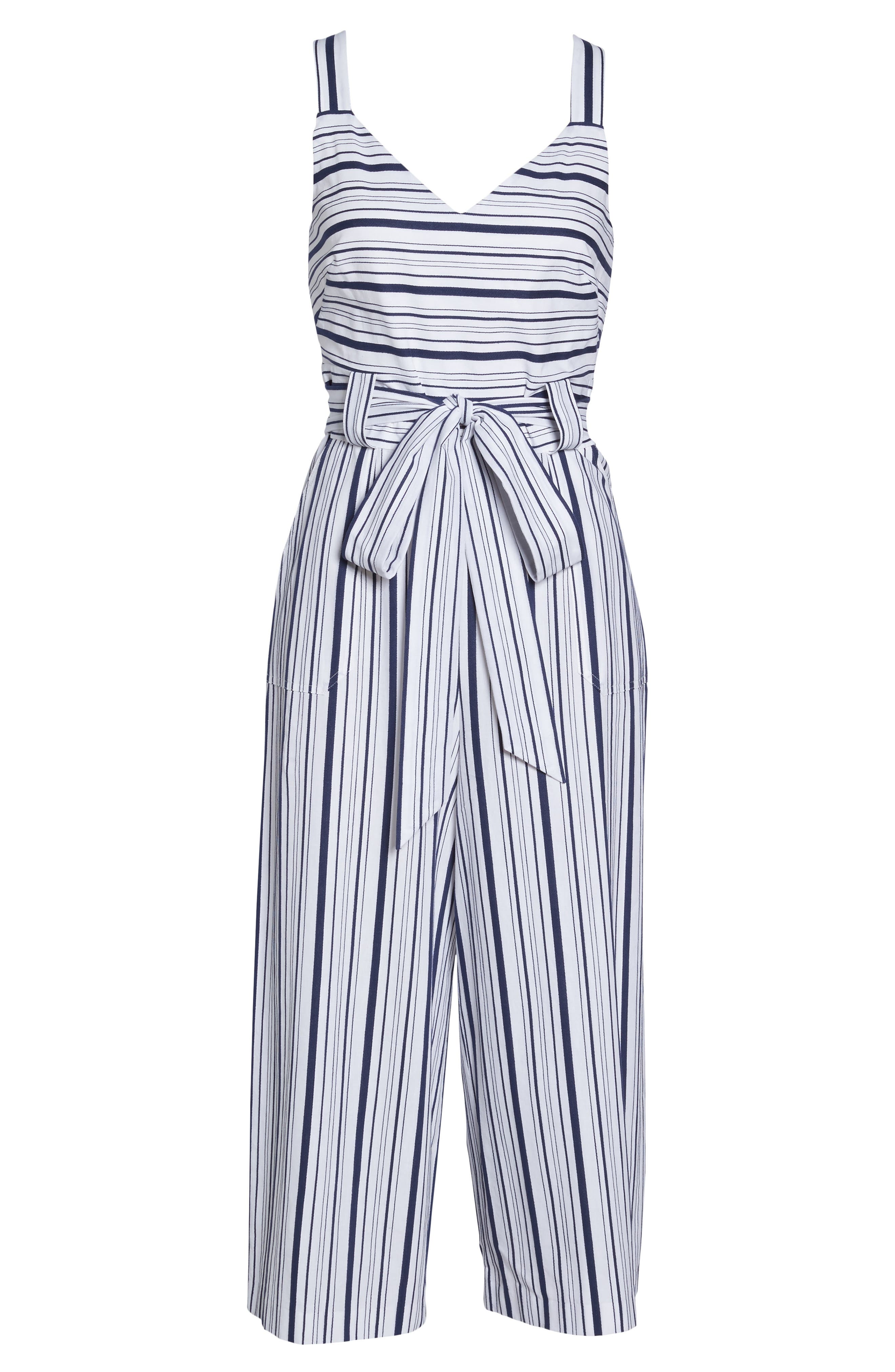 Stripe Culotte Jumpsuit,                             Alternate thumbnail 5, color,                             Blue/ White Ella Stripe