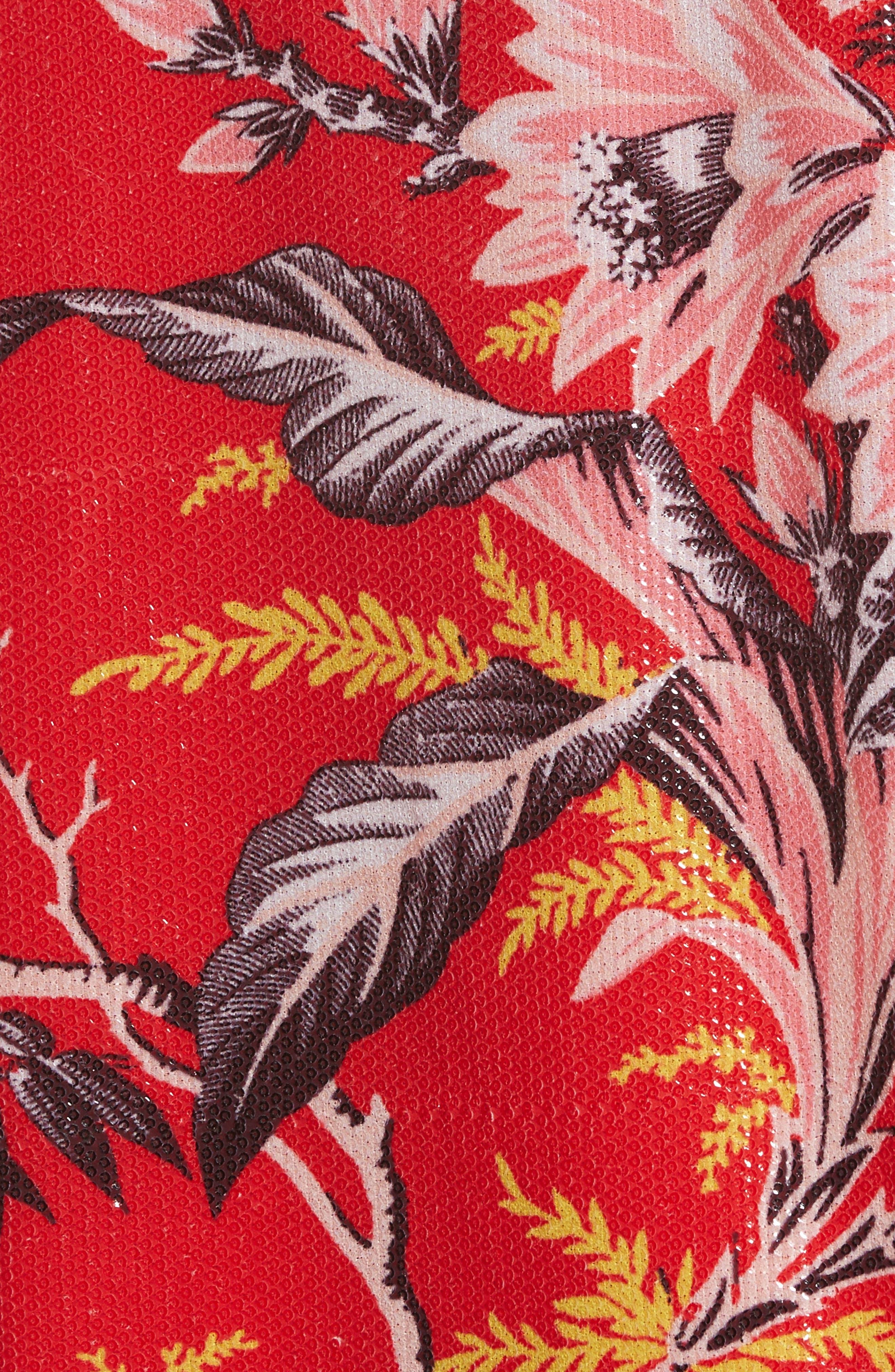 Diane von Furstenberg Fluid Sequin Minidress,                             Alternate thumbnail 5, color,                             Avalon Poppy