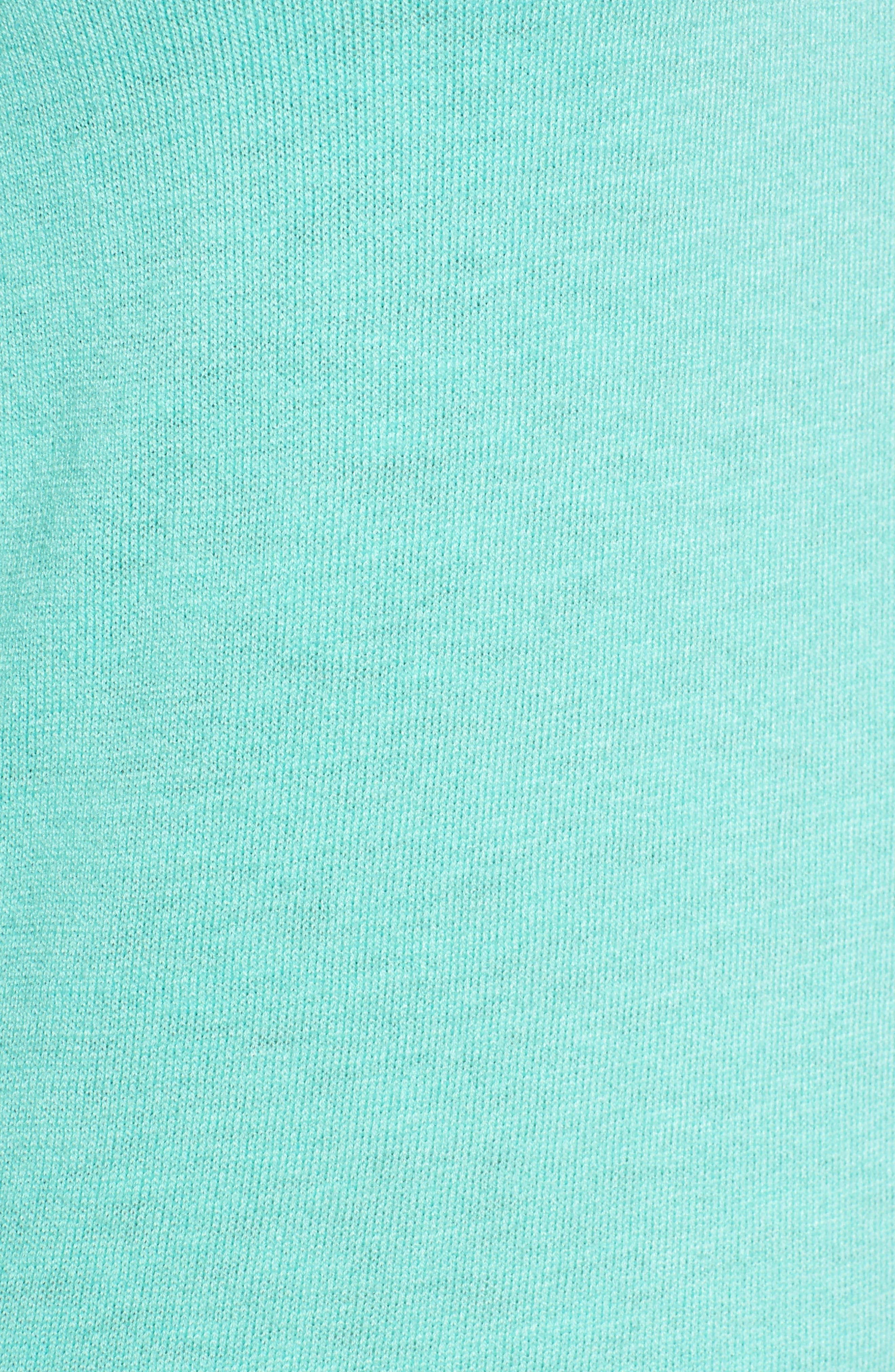 Tie Sleeve Crewneck Sweater,                             Alternate thumbnail 5, color,                             Green Largo