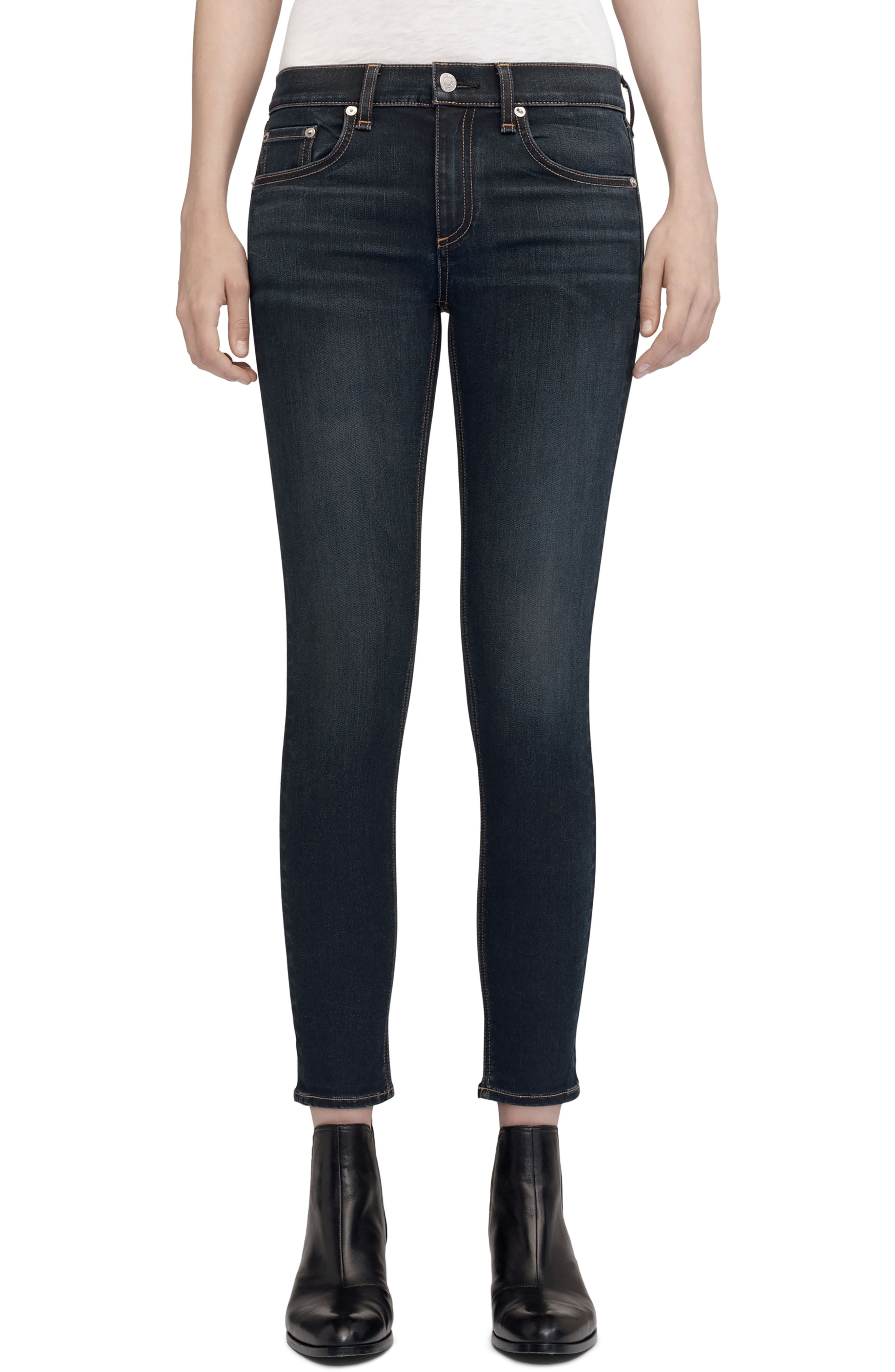 High Waist Ankle Skinny Jeans,                             Main thumbnail 1, color,                             Bedford