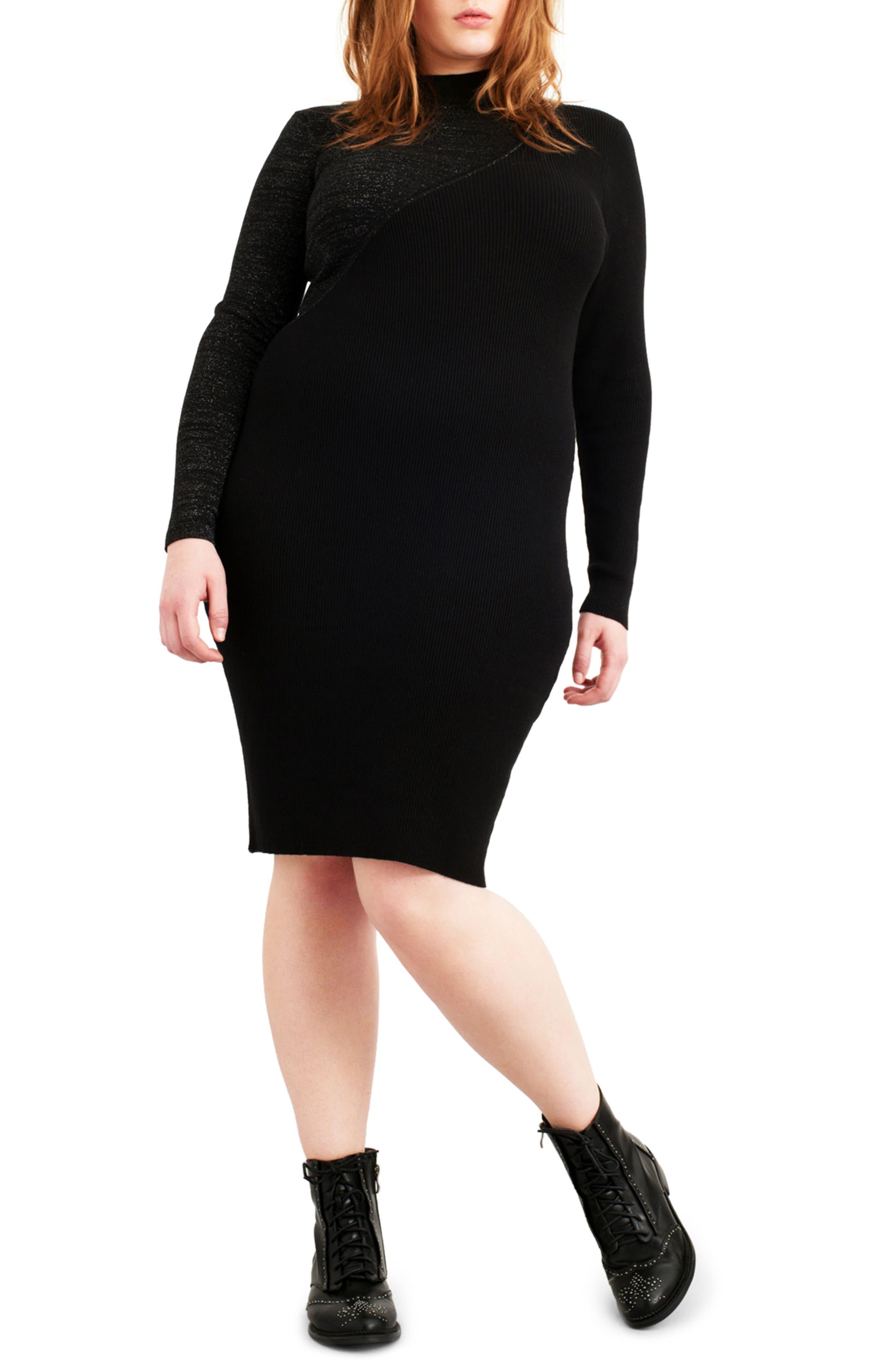 Glitter Colorblock Knit Body-Con Dress,                             Main thumbnail 1, color,                             Black