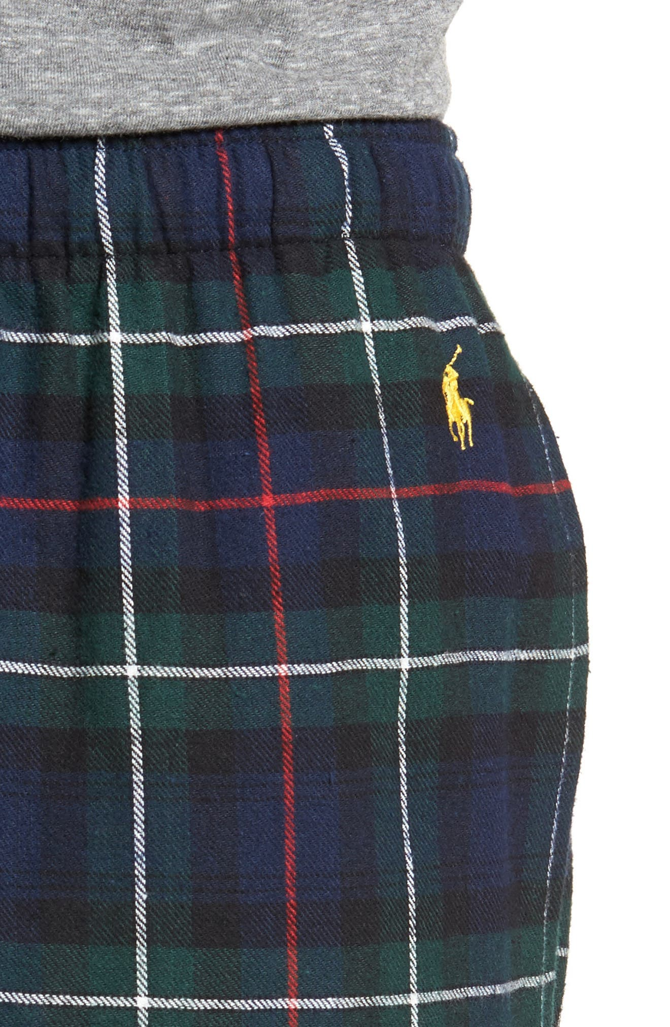 Flannel Pajama Pants,                             Alternate thumbnail 4, color,                             Blackwatch/ Cruise Navy/ Gold