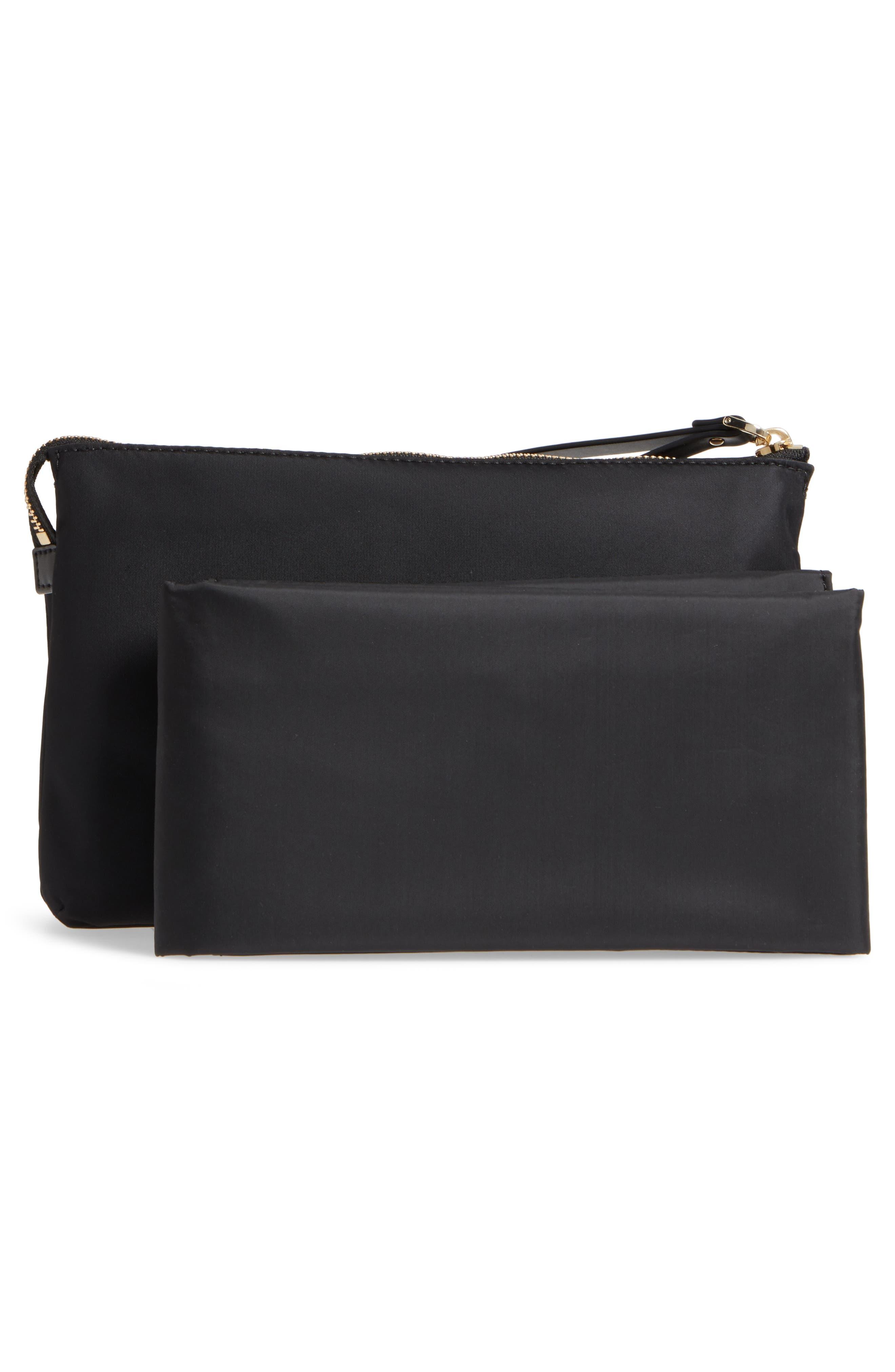 watson lane winnie baby nylon pouch with changing mat,                             Alternate thumbnail 3, color,                             Black