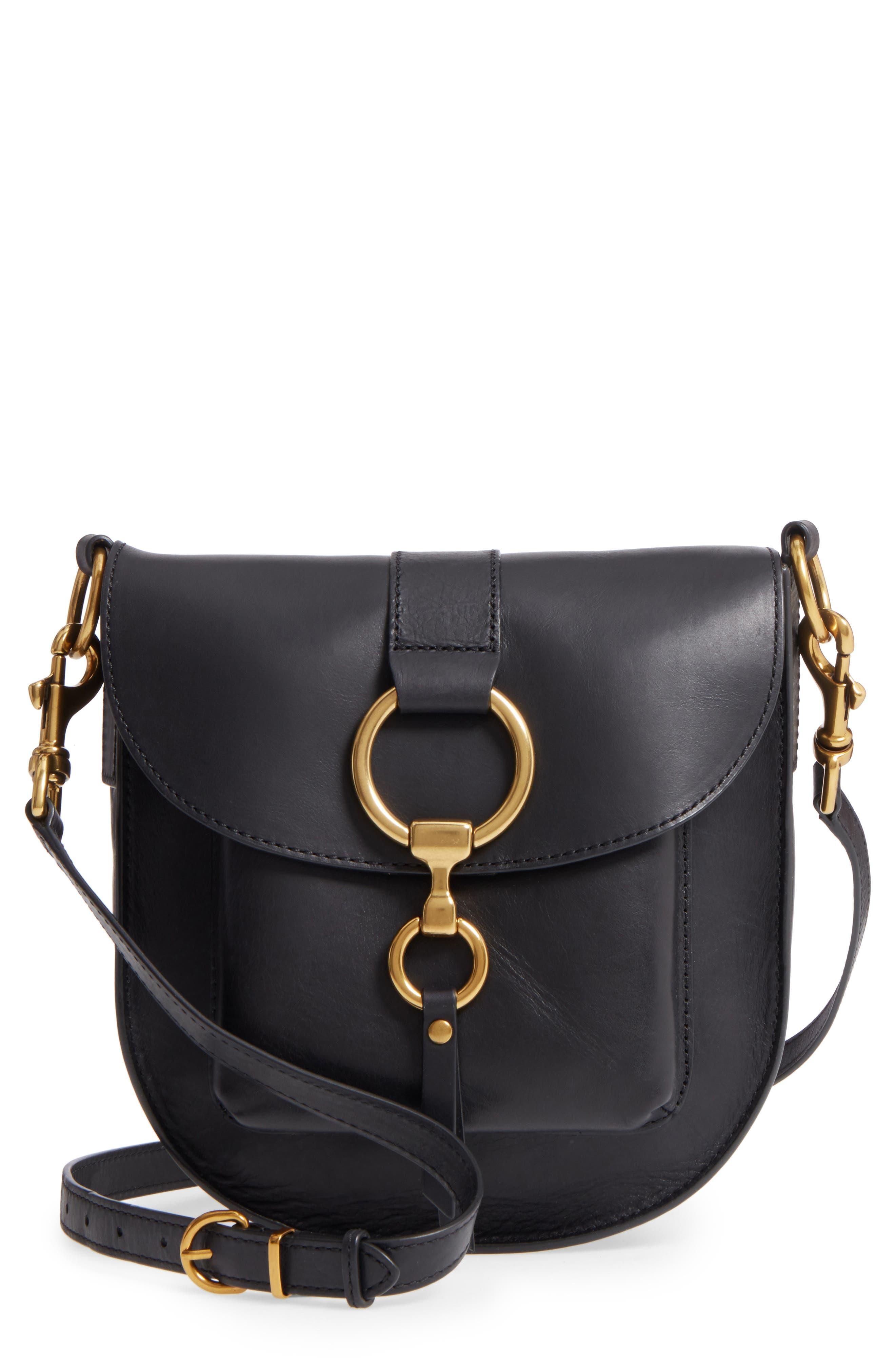 Ilana Leather Saddle Bag,                         Main,                         color, Black