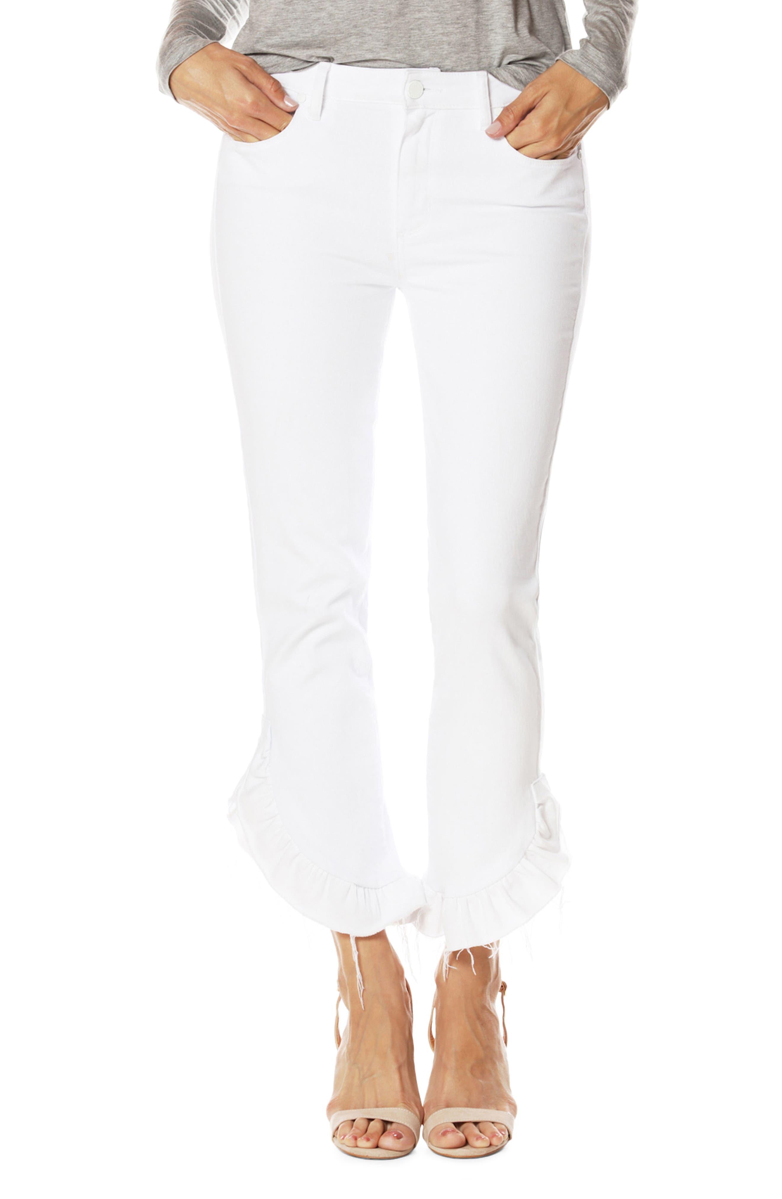Alternate Image 1 Selected - PAIGE Jacqueline Crop Straight Leg Jeans (Crisp White)