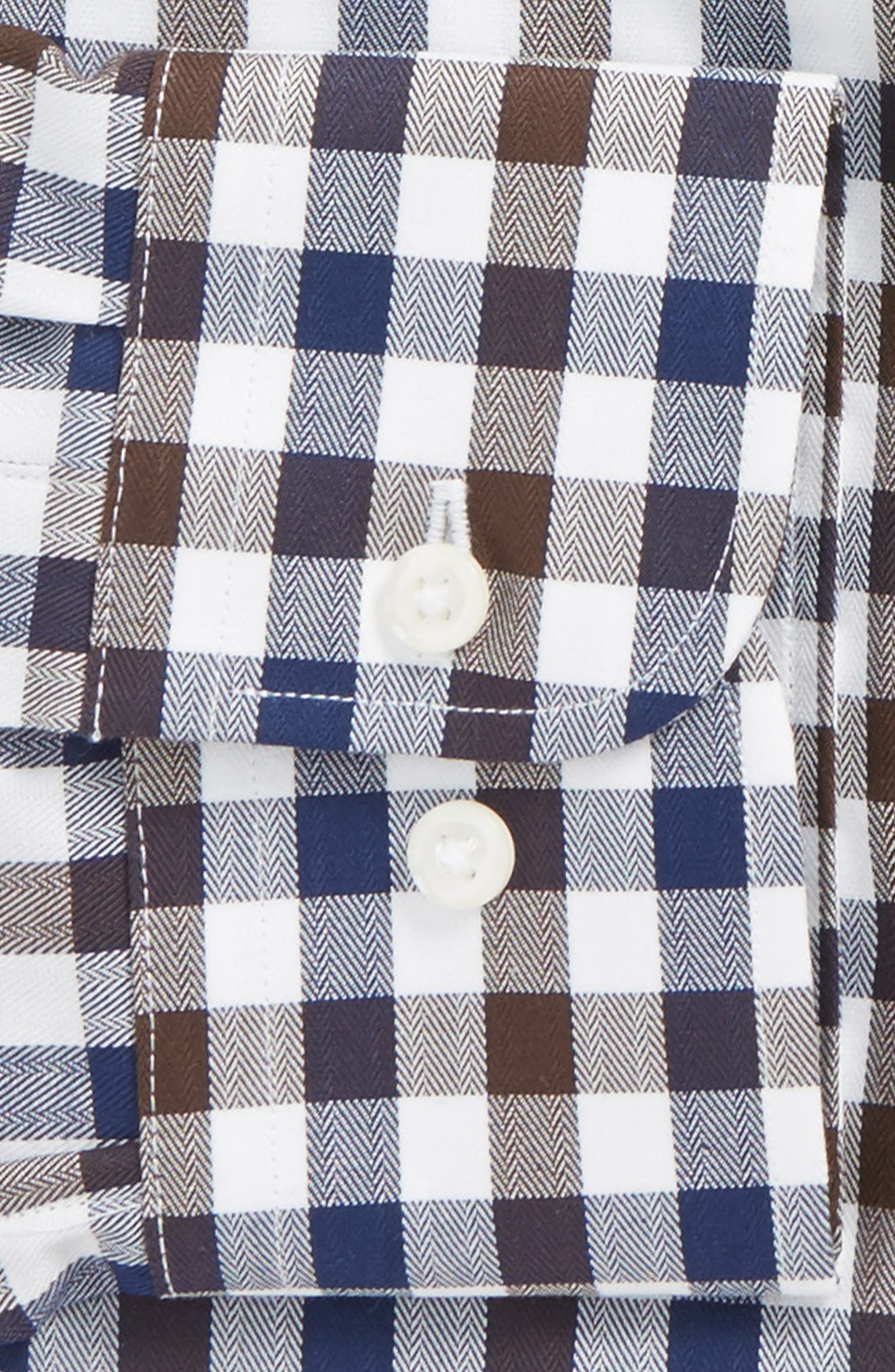 Trim Fit Check Dress Shirt,                             Alternate thumbnail 2, color,                             Brown Cocoa