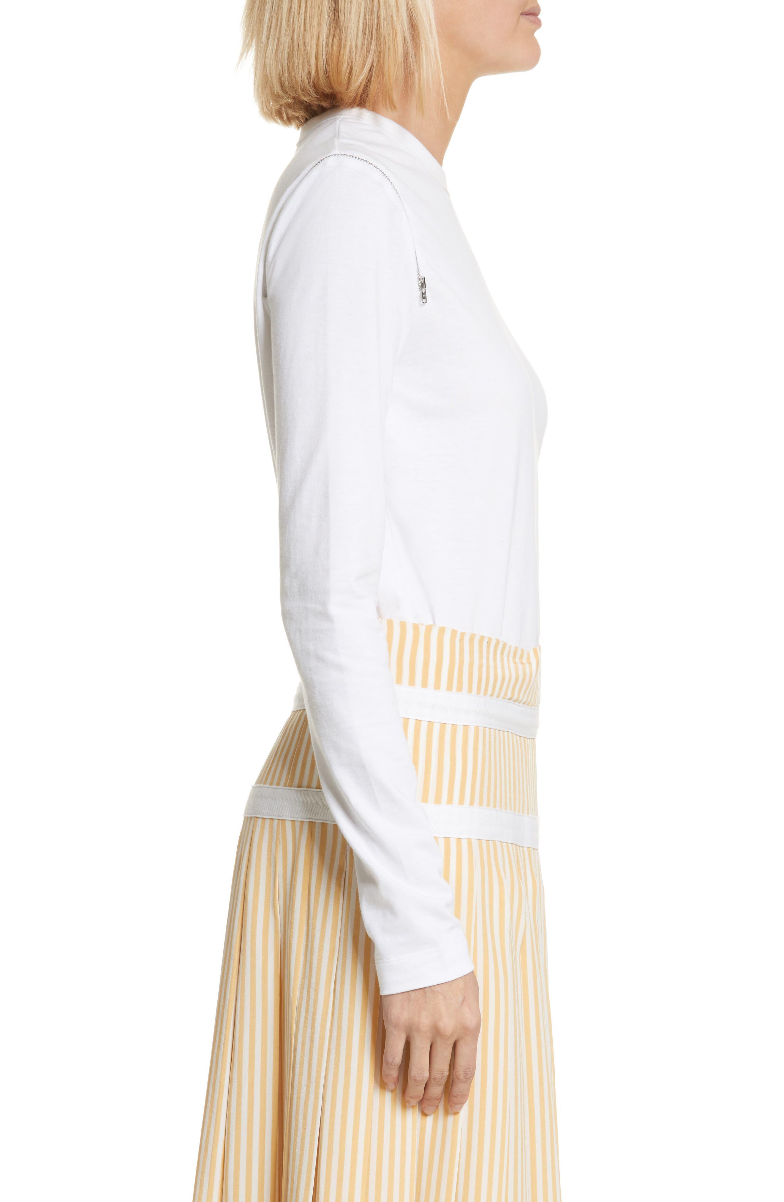 Zip Shoulder Long Sleeve Tee,                             Alternate thumbnail 3, color,                             White