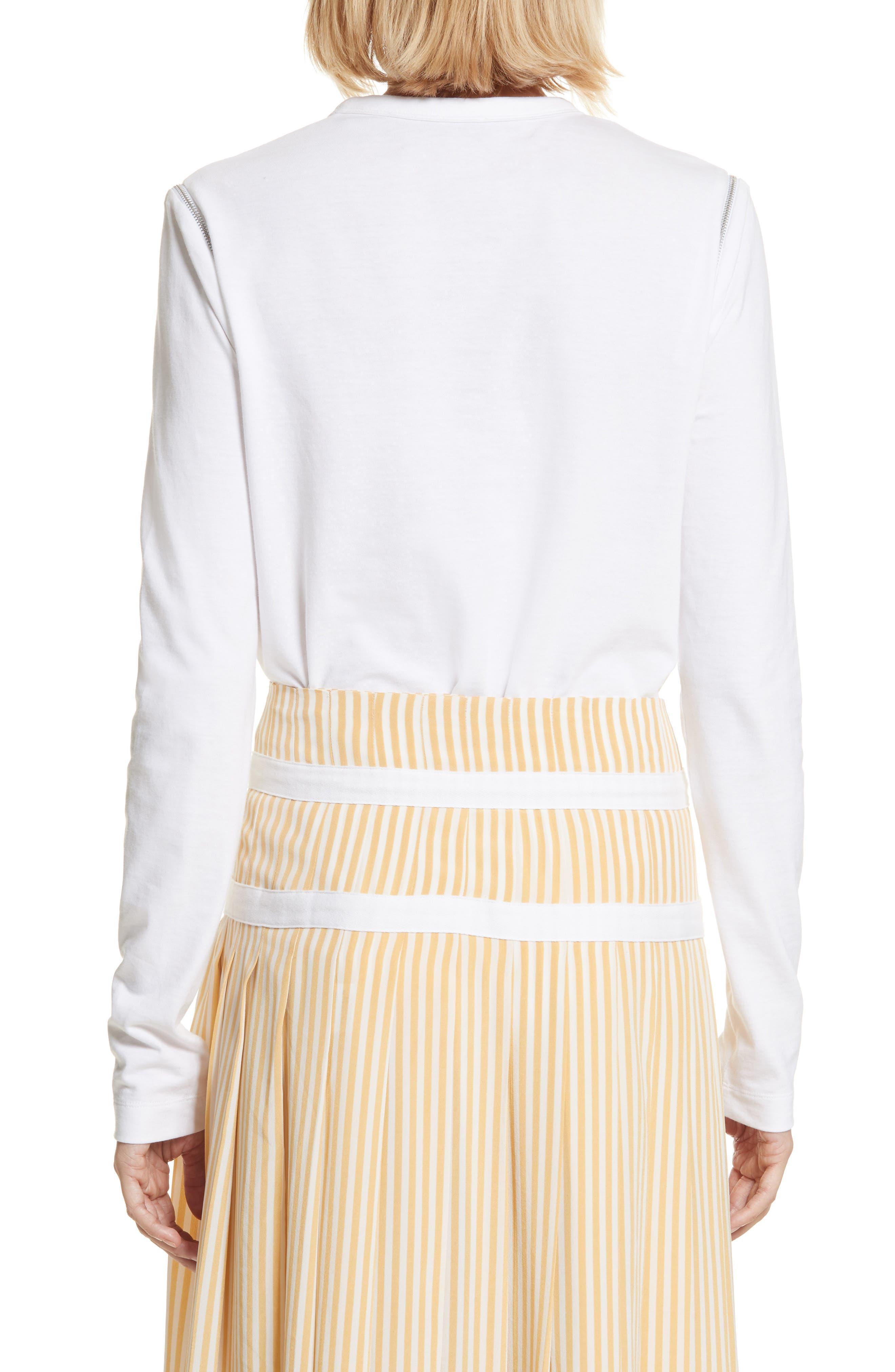 Zip Shoulder Long Sleeve Tee,                             Alternate thumbnail 2, color,                             White