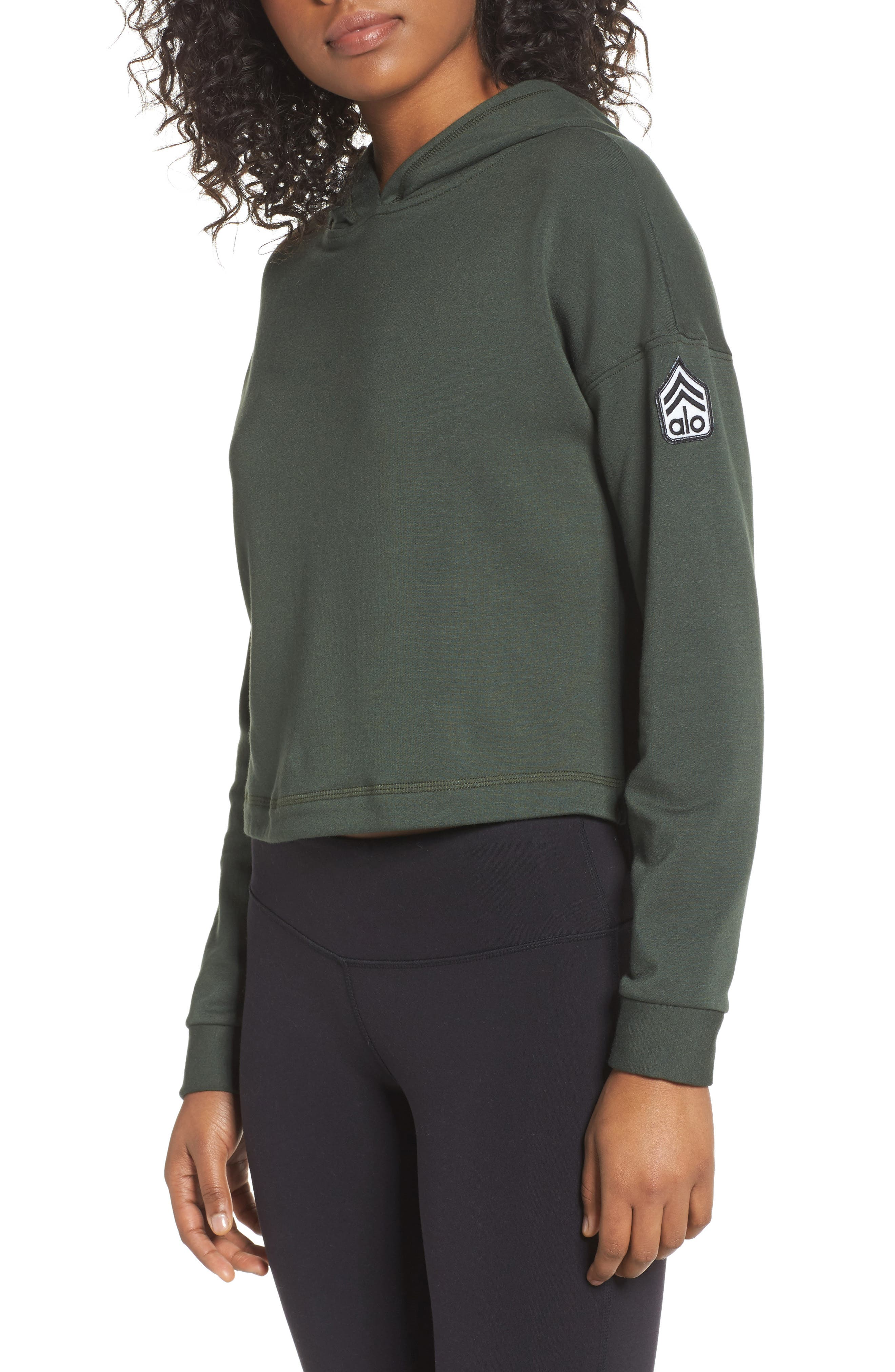 Screenprint French Terry Crop Hoodie,                         Main,                         color, Hunter / Alo Patch