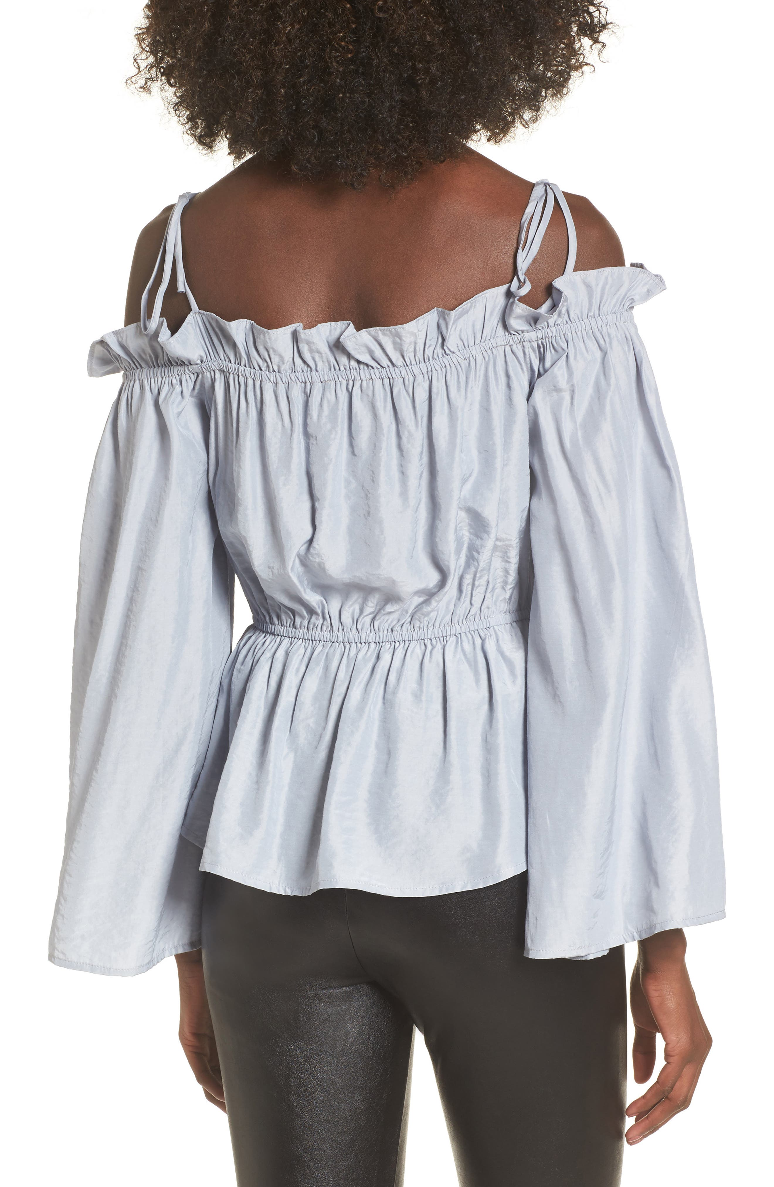 Off the Shoulder Bell Sleeve Blouse,                             Alternate thumbnail 2, color,                             Blue Ice