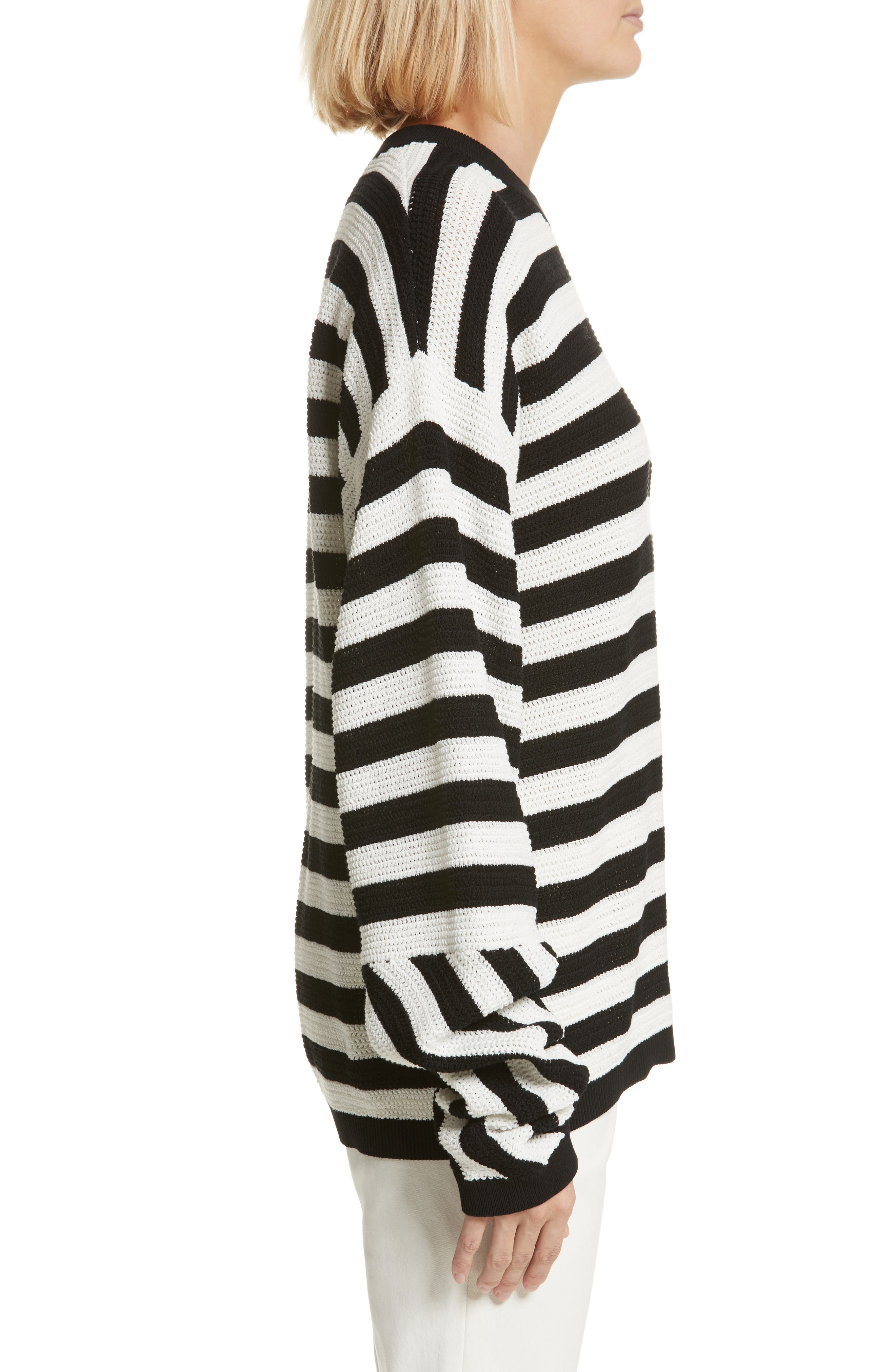 Stripe Cotton Pique Sweater,                             Alternate thumbnail 3, color,                             Black