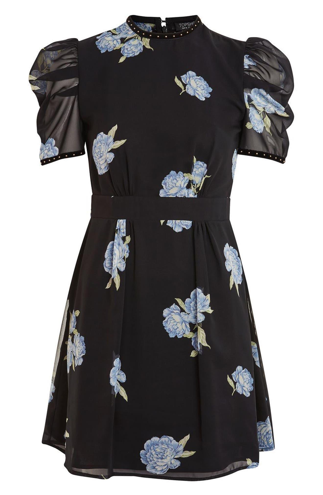 Alternate Image 5  - Topshop Bloom Studded Puff Sleeve Skater Dress