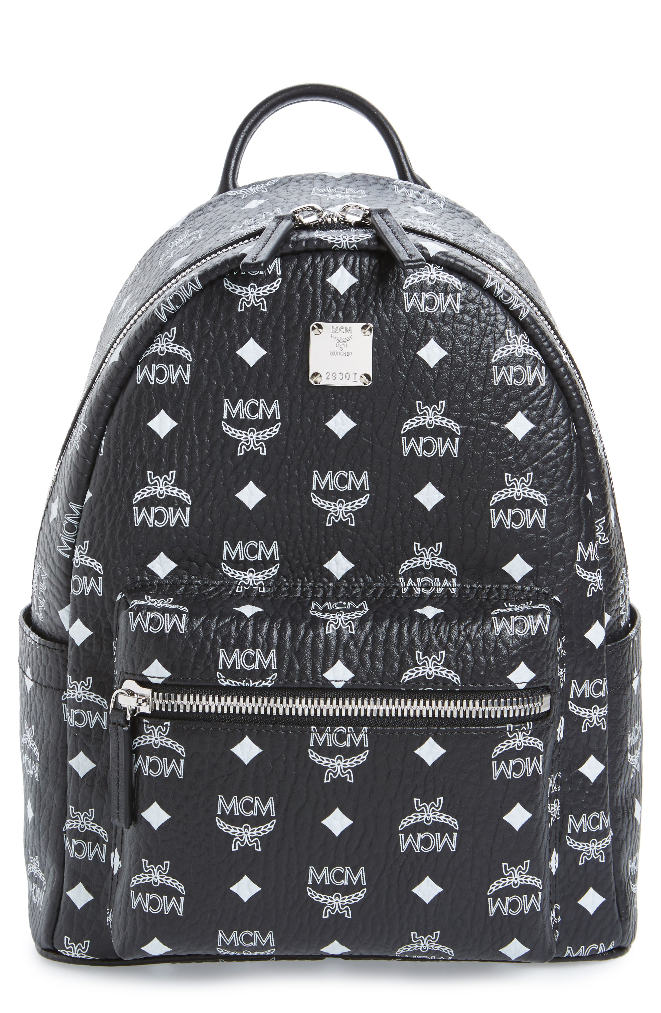 MCM Small Stark Monogram Print Canvas Backpack