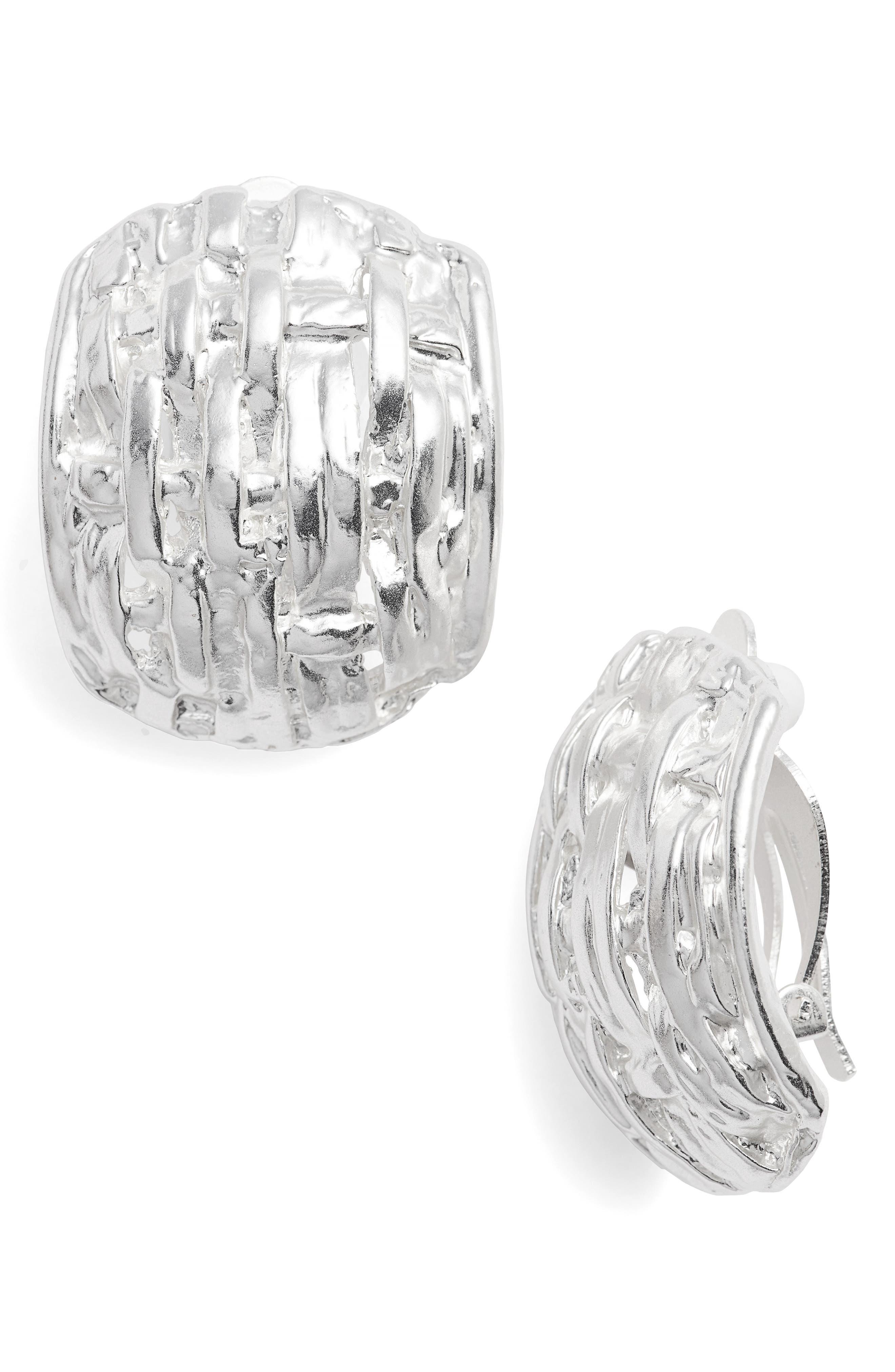 Grace Clip Earrings,                         Main,                         color, Silver