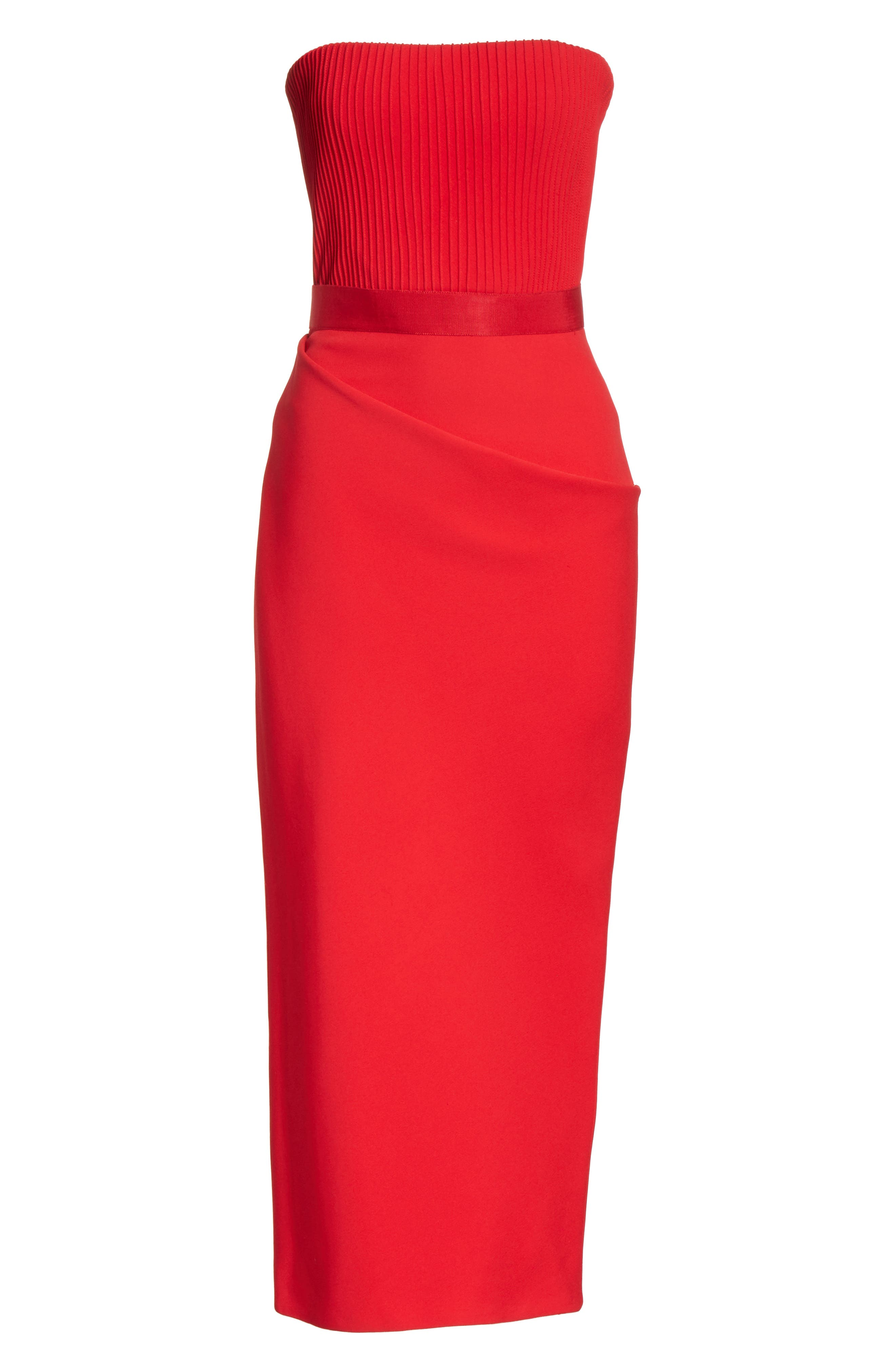 Ribbed Bodice Midi Dress,                             Alternate thumbnail 6, color,                             Red