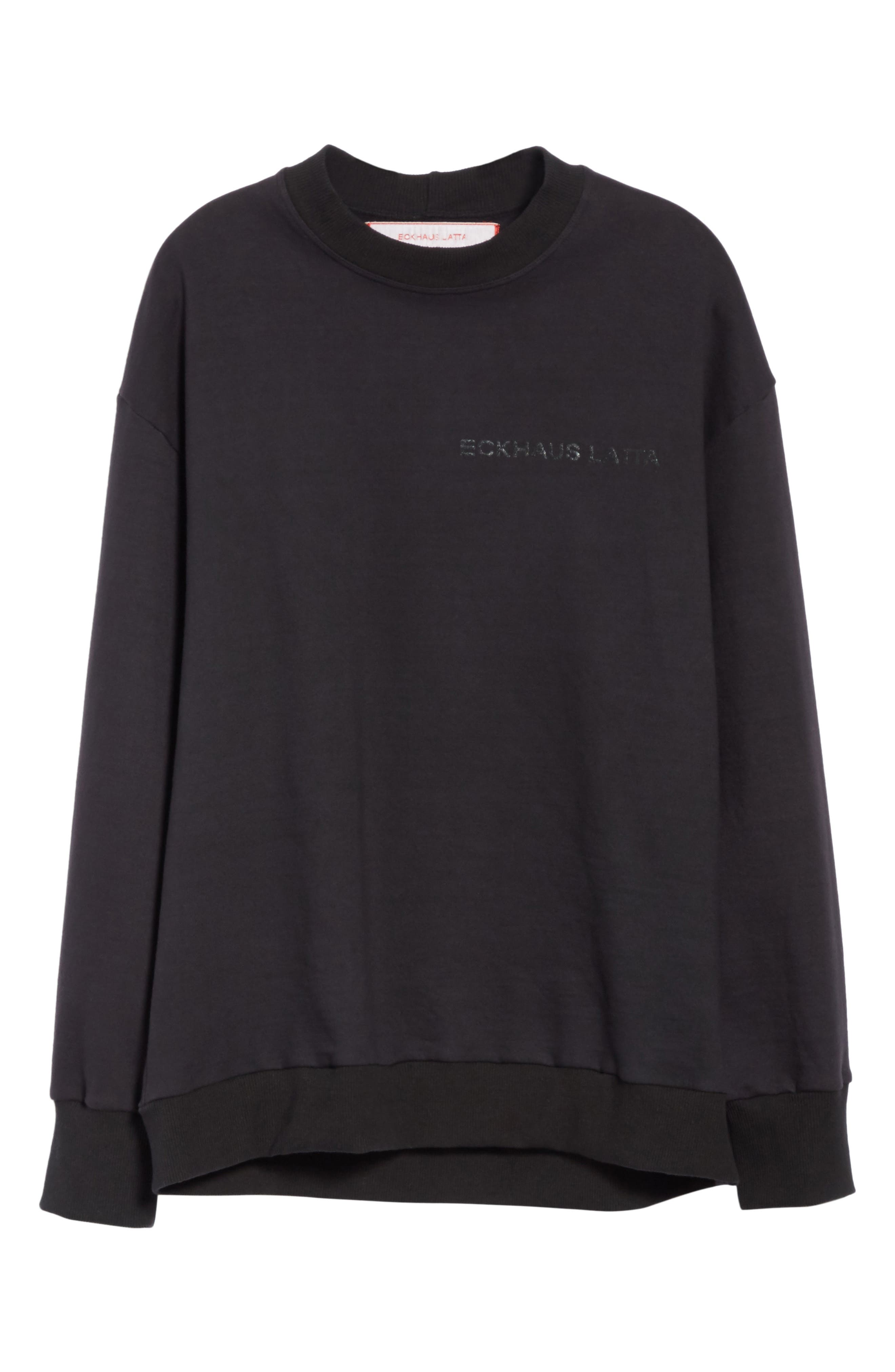 Relaxed Fit Sweatshirt,                             Alternate thumbnail 6, color,                             Black