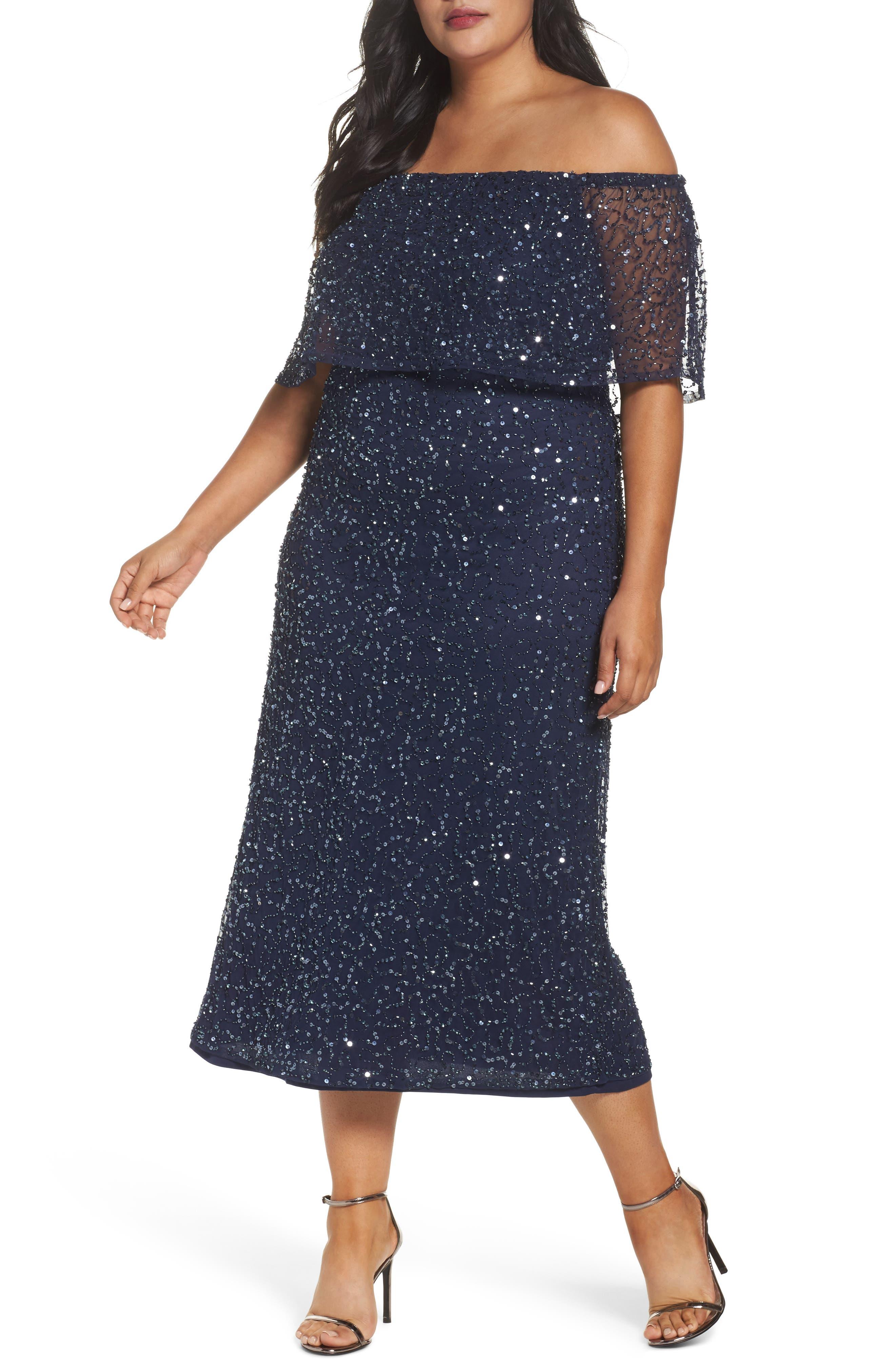 Main Image - Pisarro Nights Beaded Off the Shoulder Long Dress (Plus Size)