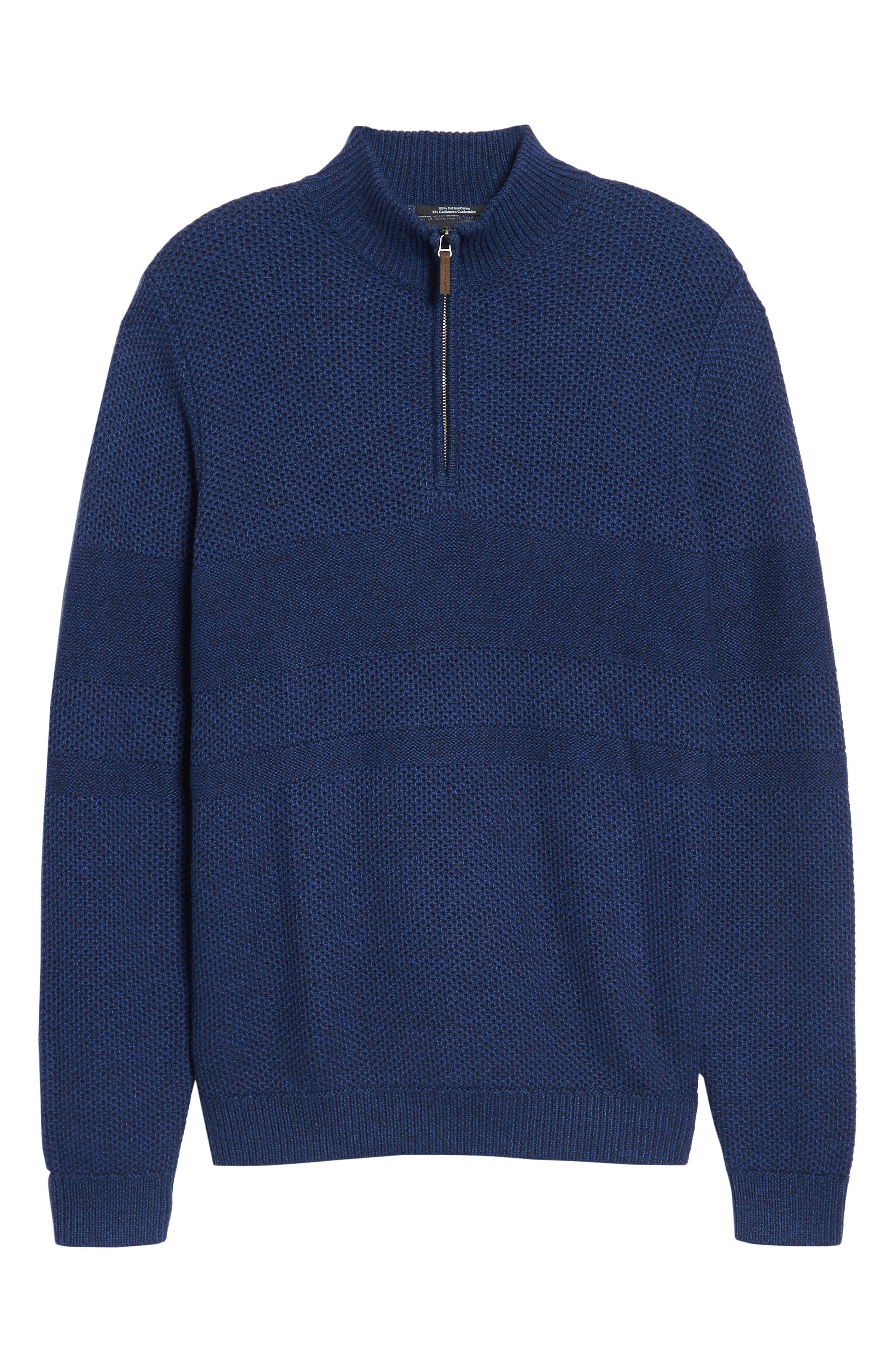 Alternate Image 6  - Nordstrom Men's Shop Texture Cotton & Cashmere Quarter Zip Sweater (Regular & Tall)