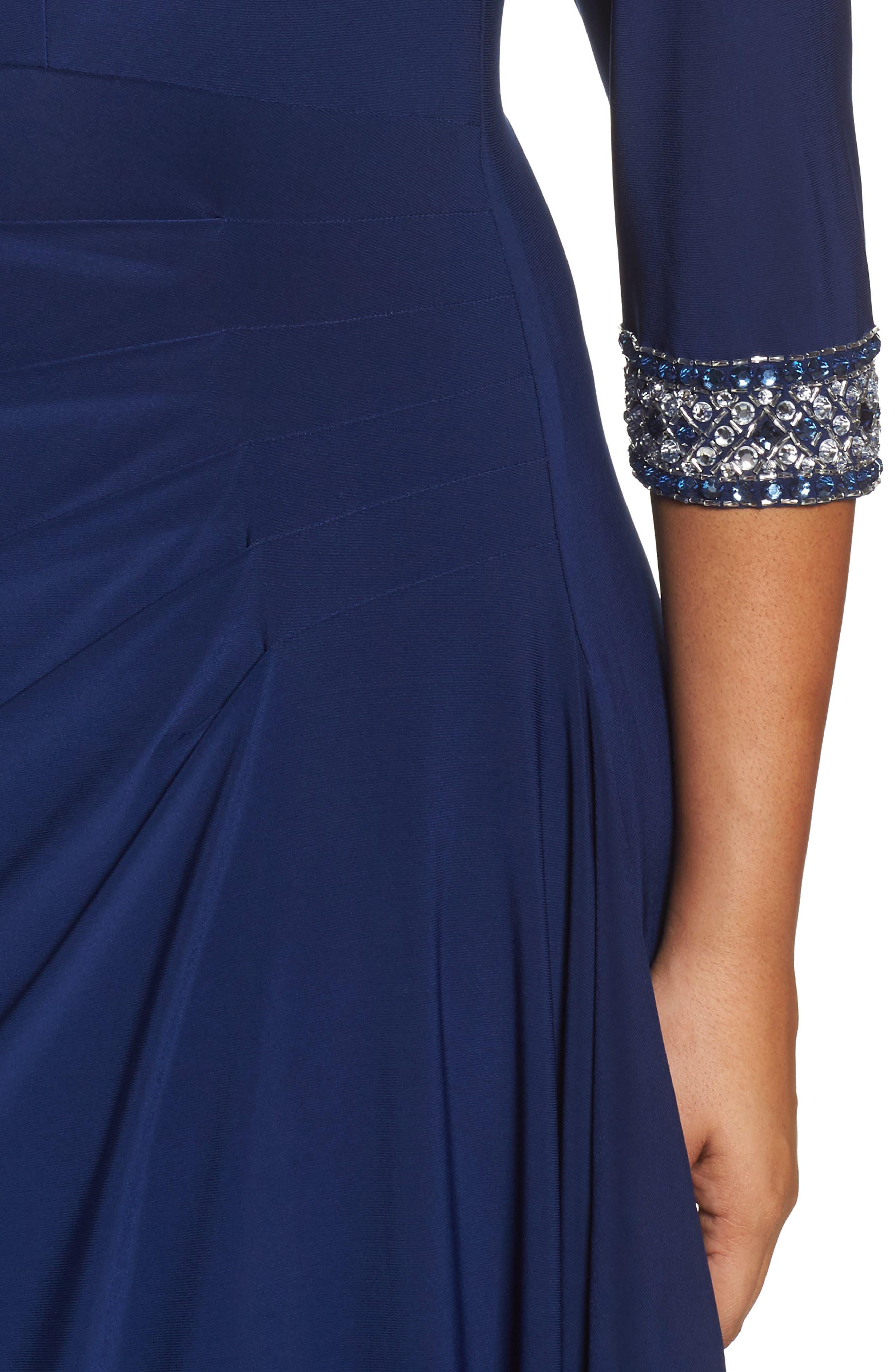 Embellished Faux Wrap Gown,                             Alternate thumbnail 4, color,                             Cobalt