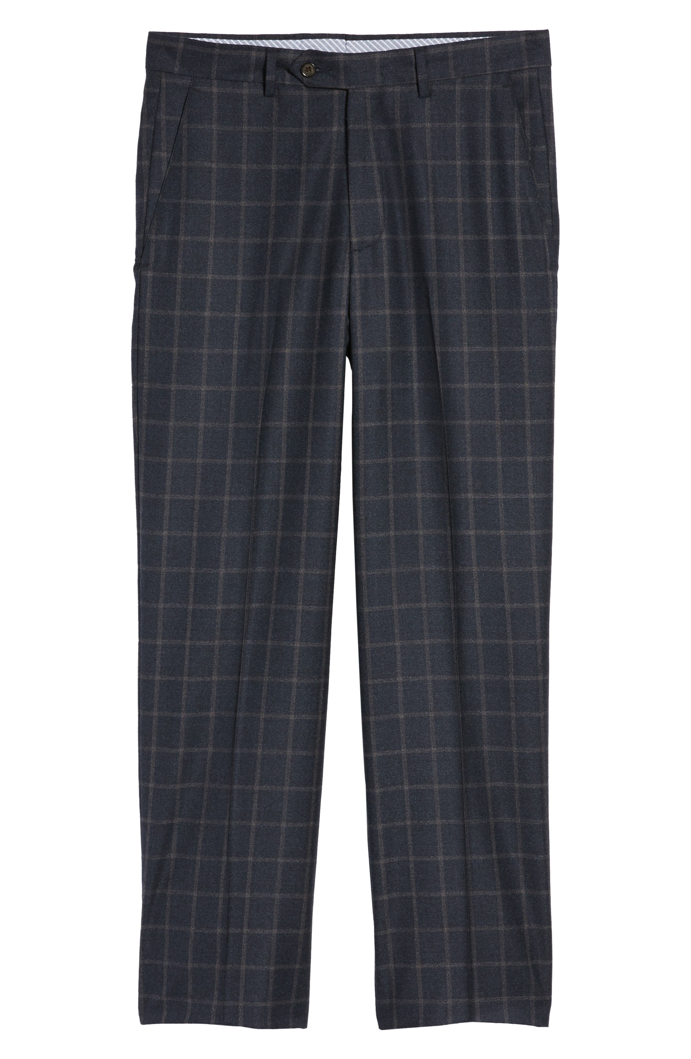 Flat Front Windowpane Wool Trousers,                             Alternate thumbnail 6, color,                             Blue