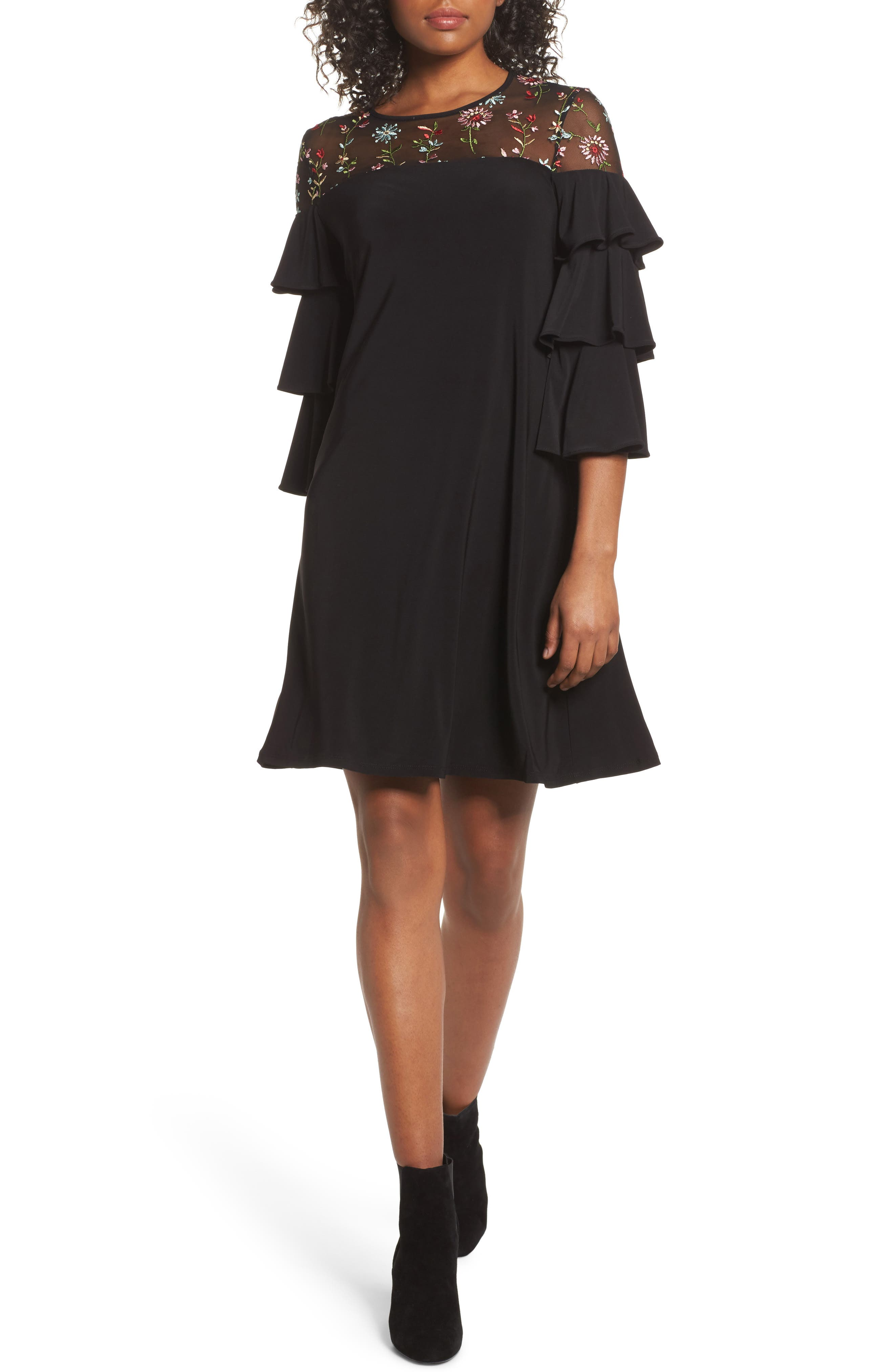 Tiered Sleeve Trapeze Dress,                         Main,                         color, Black Multi