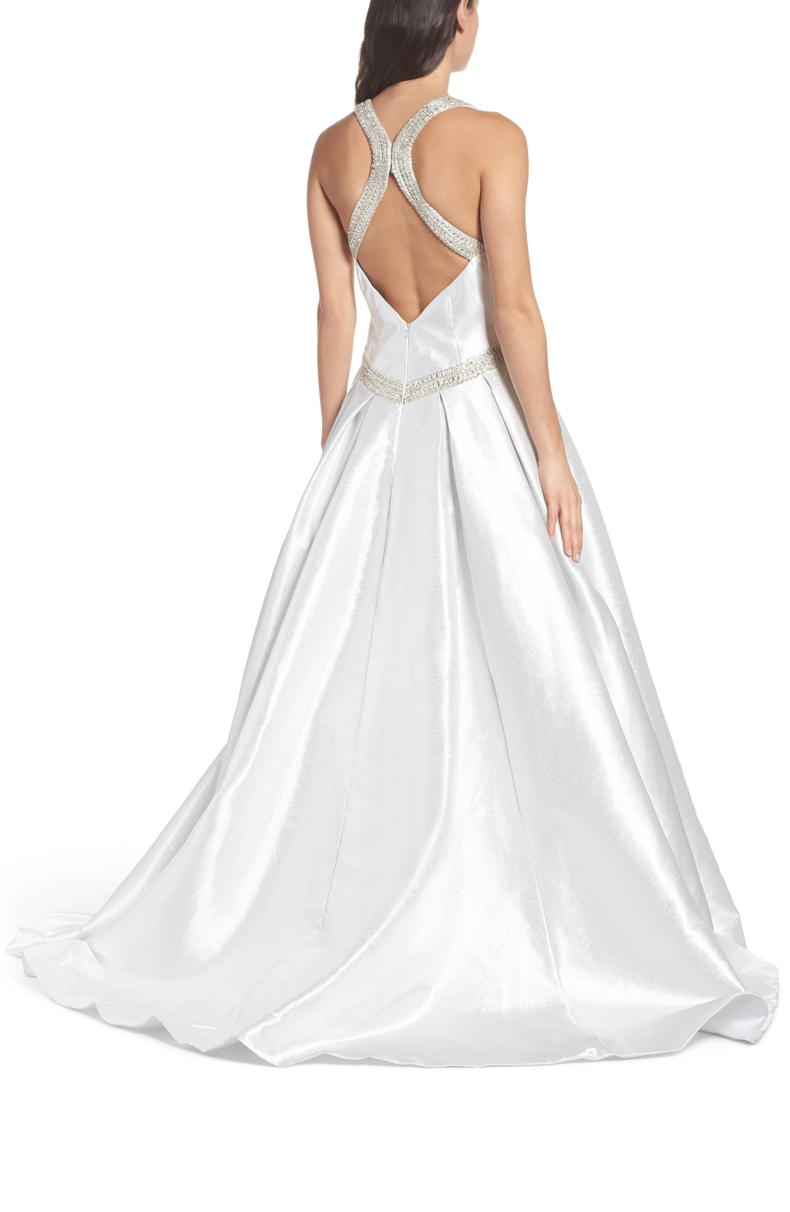 Beaded Halter Neck Ballgown,                             Alternate thumbnail 2, color,                             Ice Ice Baby