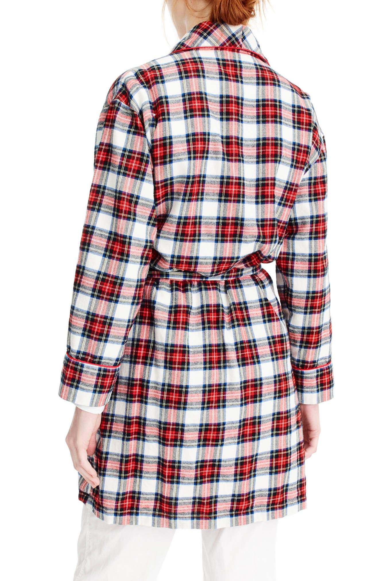 J.Crew Whiteout Plaid Flannel Short Robe,                             Alternate thumbnail 3, color,                             Red Navy