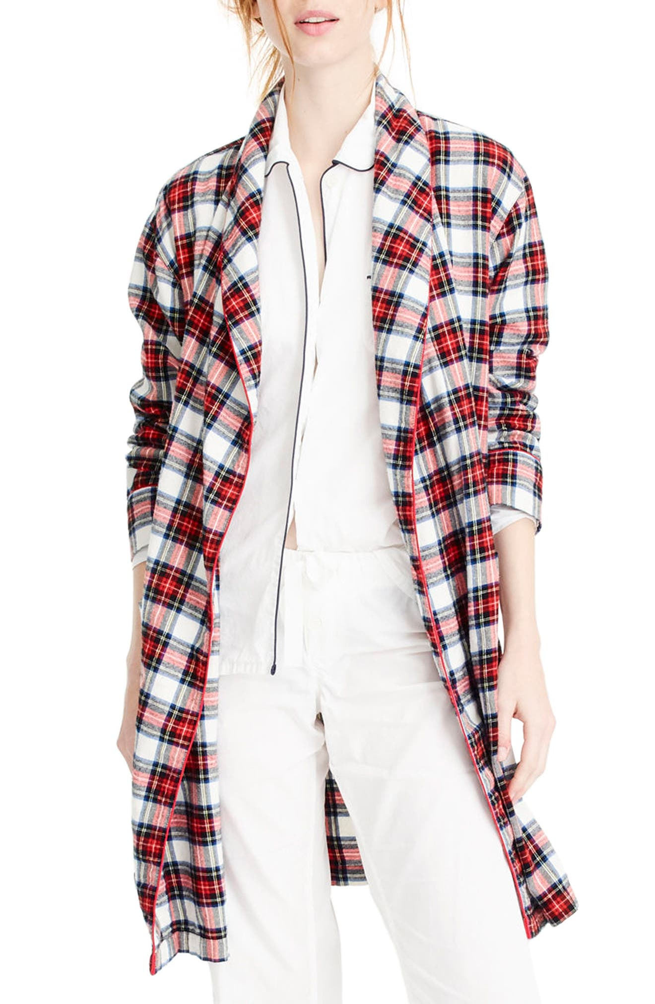 J.Crew Whiteout Plaid Flannel Short Robe,                             Alternate thumbnail 2, color,                             Red Navy