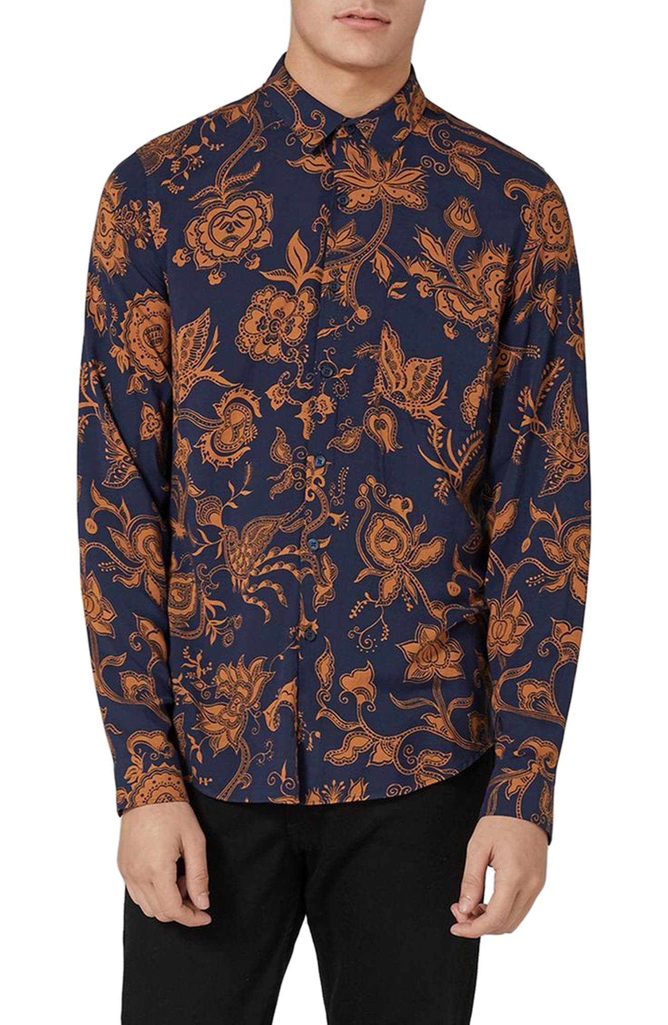 Alternate Image 1 Selected - Topman Classic Fit Floral Print Shirt