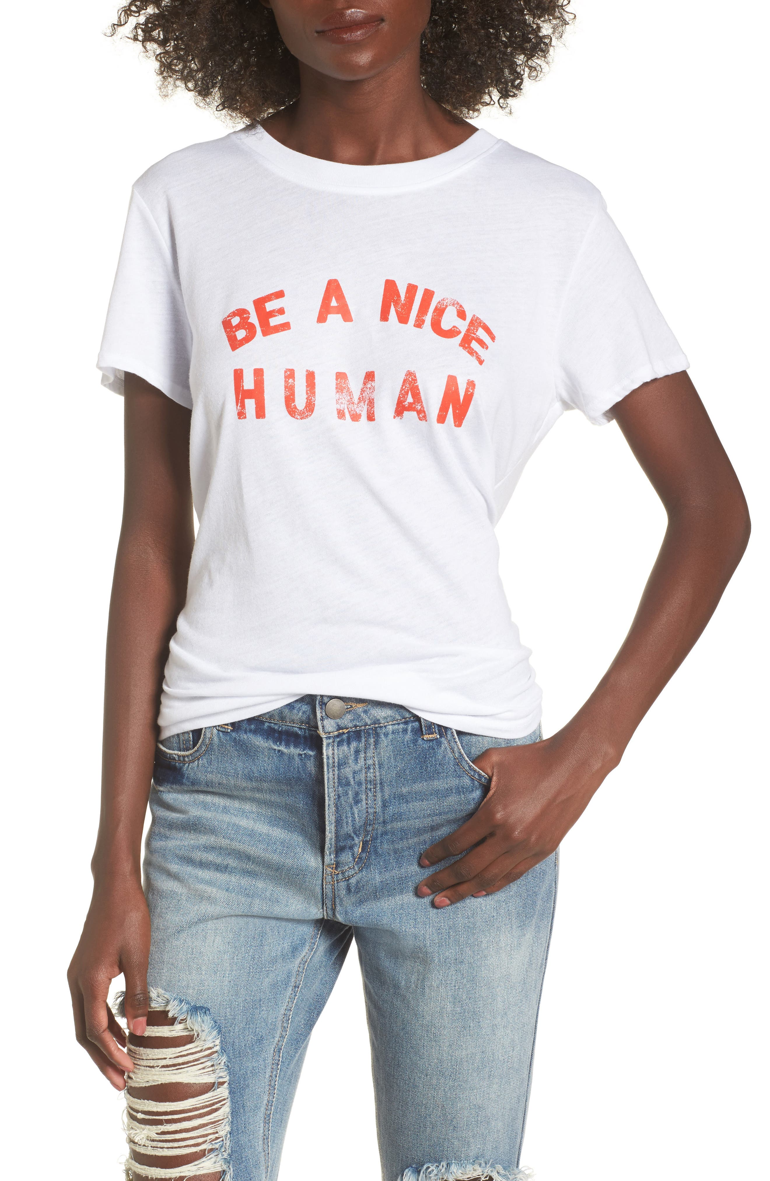 Be A Nice Human Tee,                             Main thumbnail 1, color,                             White