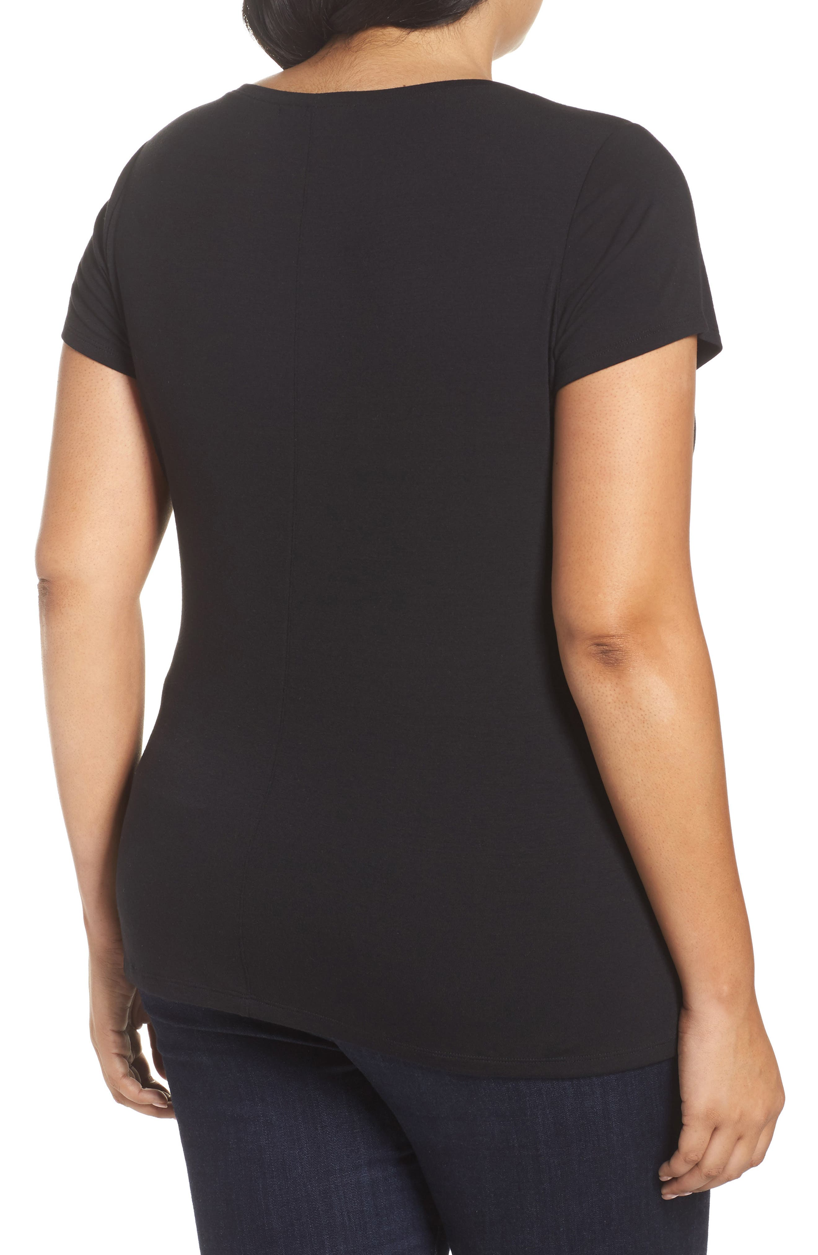 Stretch Scoop Neck Tee,                             Alternate thumbnail 2, color,                             Black