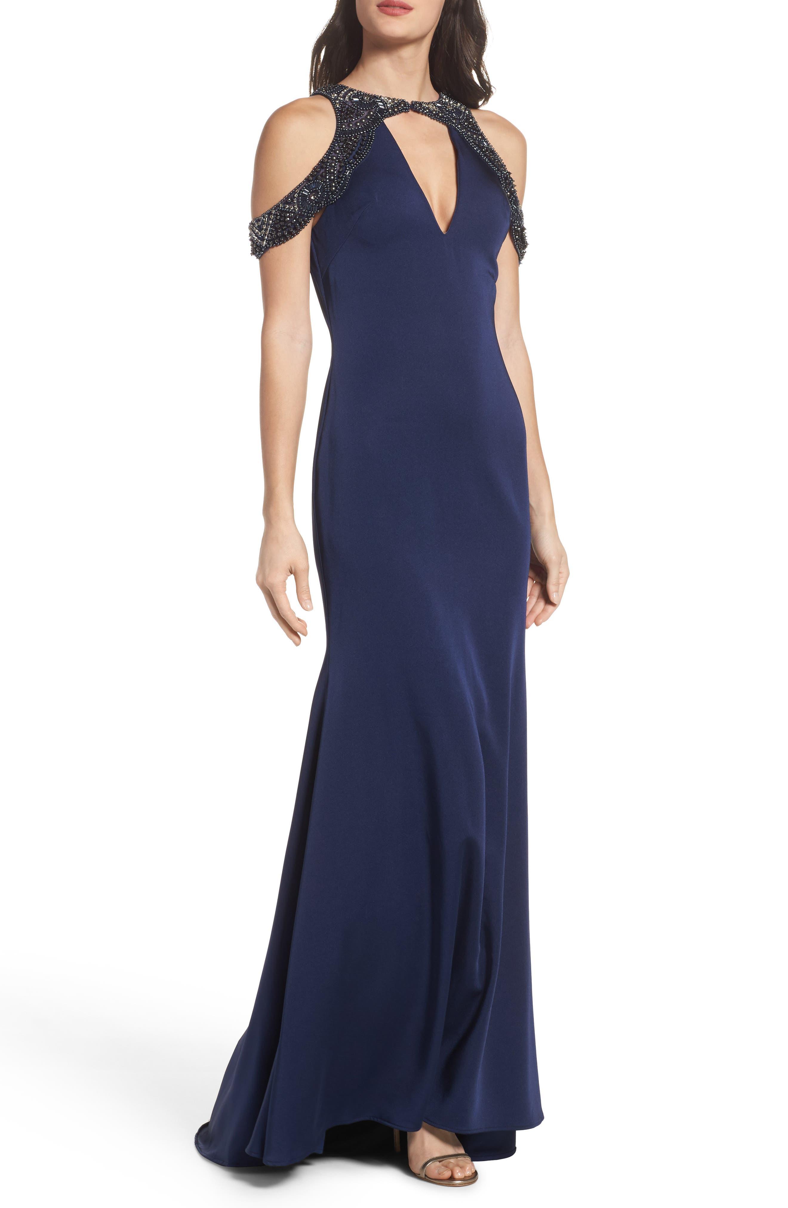 Main Image - Ieena for Mac Duggal Embellished Cold Shoulder Gown