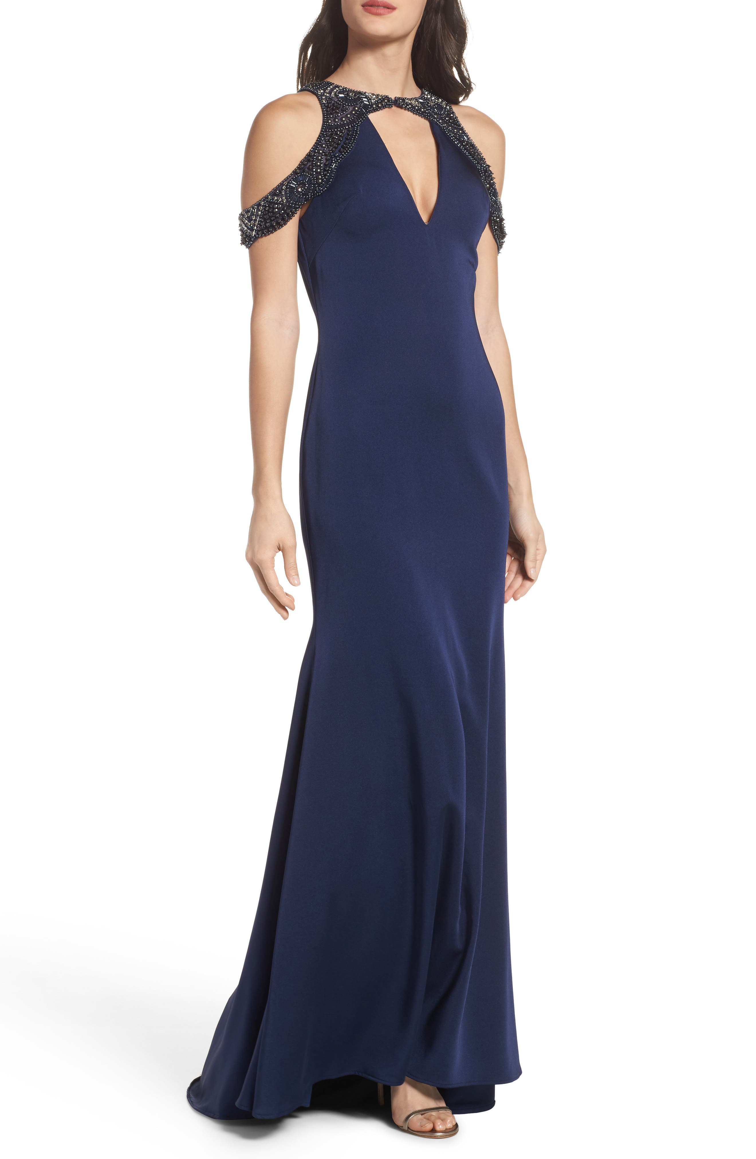 Embellished Cold Shoulder Gown,                         Main,                         color, Midnight
