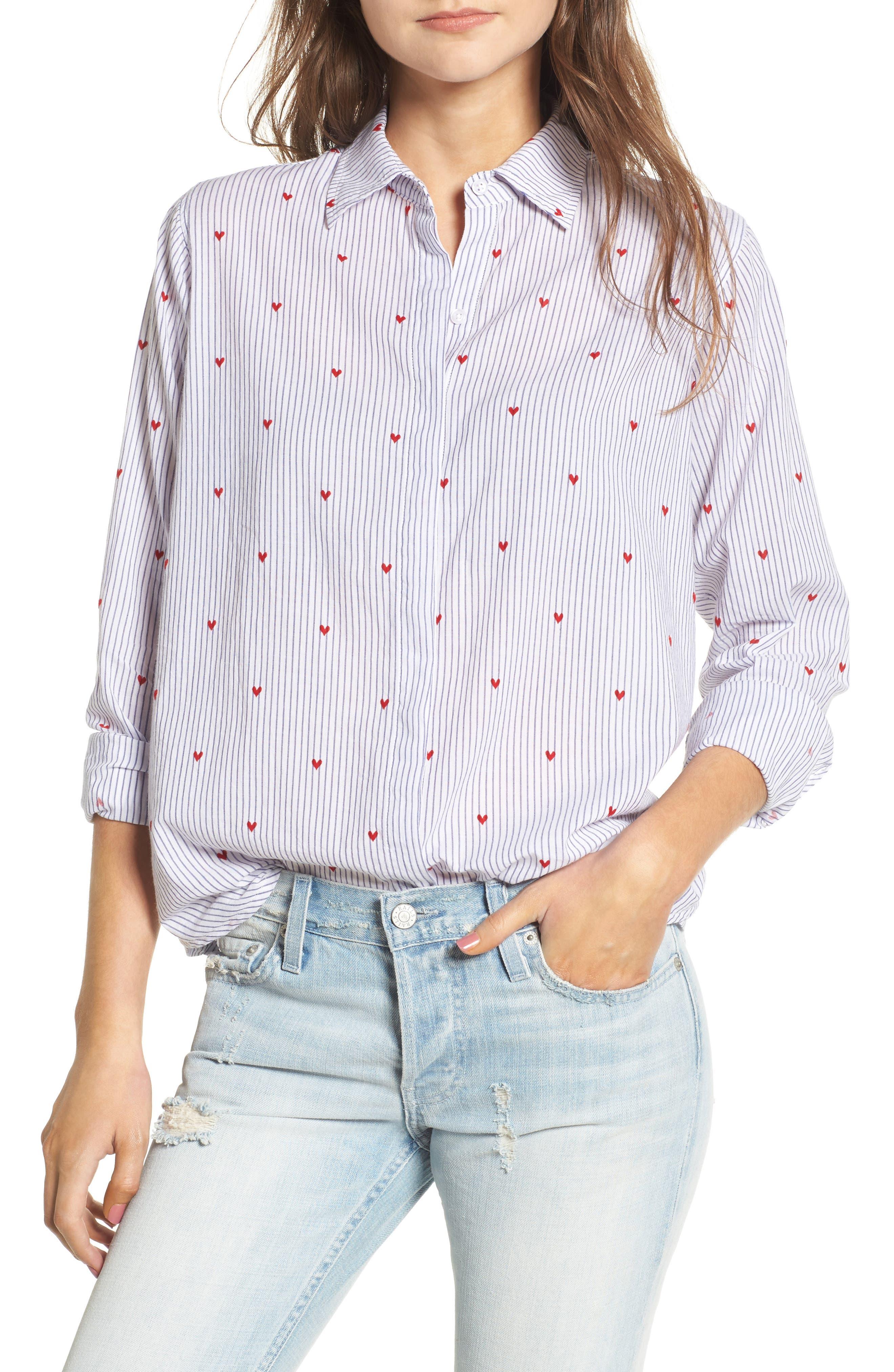 Taylor Heart Stripe Shirt,                         Main,                         color, Girona Stripe With Hearts