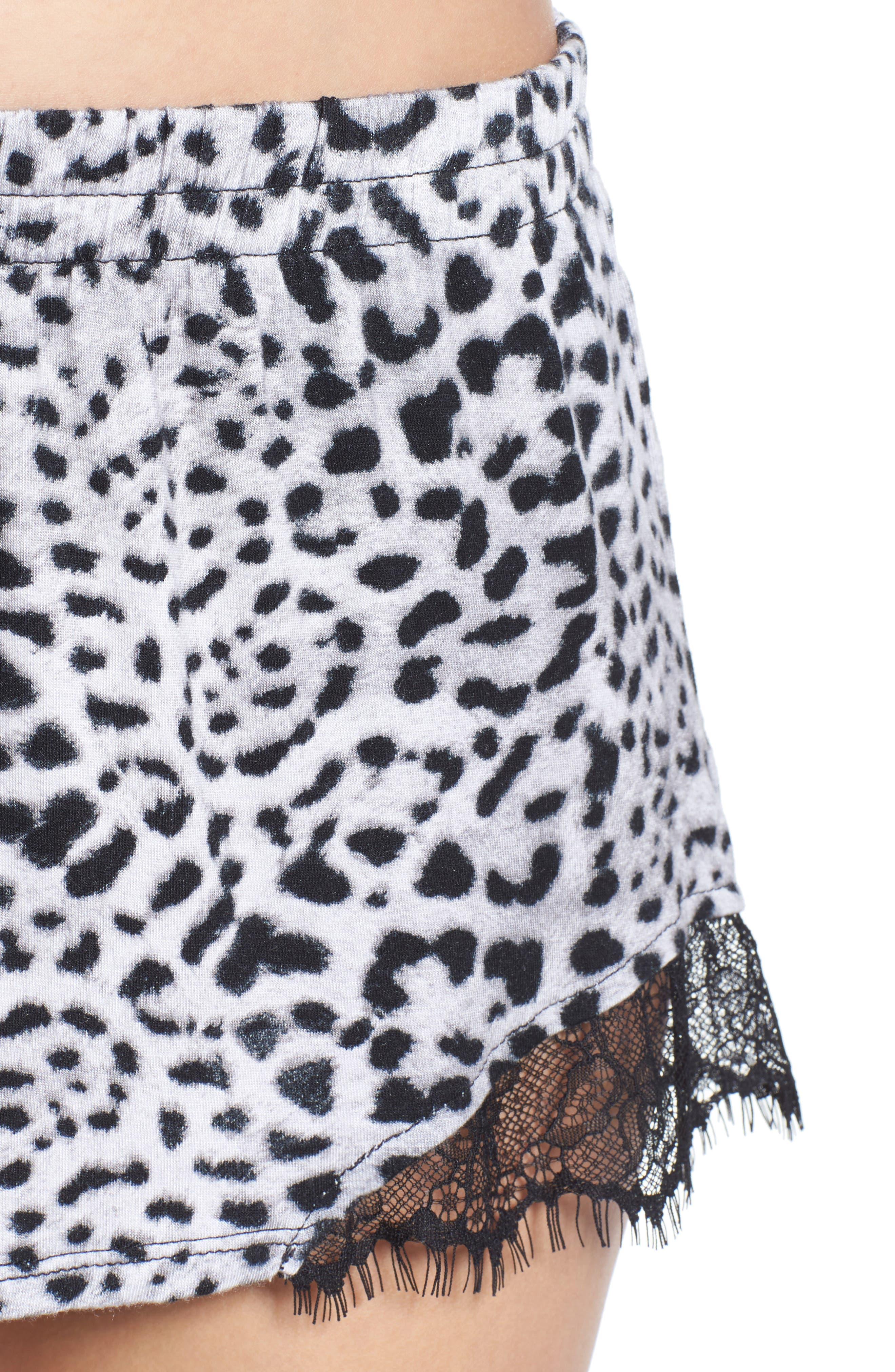 Notch Collar Short Pajamas,                             Alternate thumbnail 4, color,                             Silky Leopard Grey