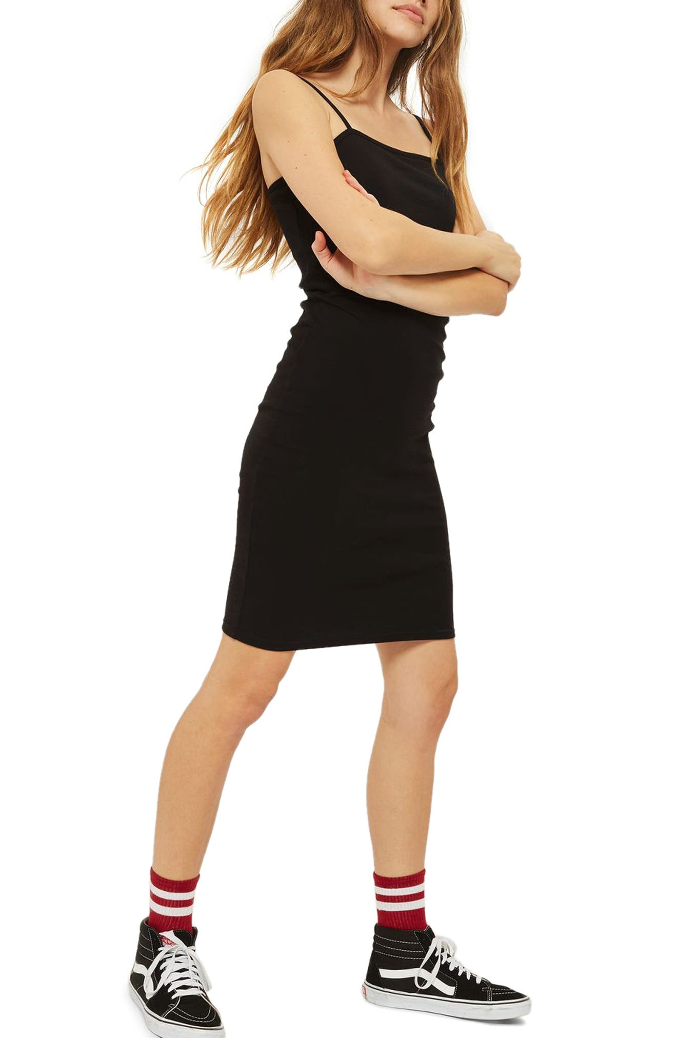 Body-Con Midi Dress,                             Alternate thumbnail 3, color,                             Black