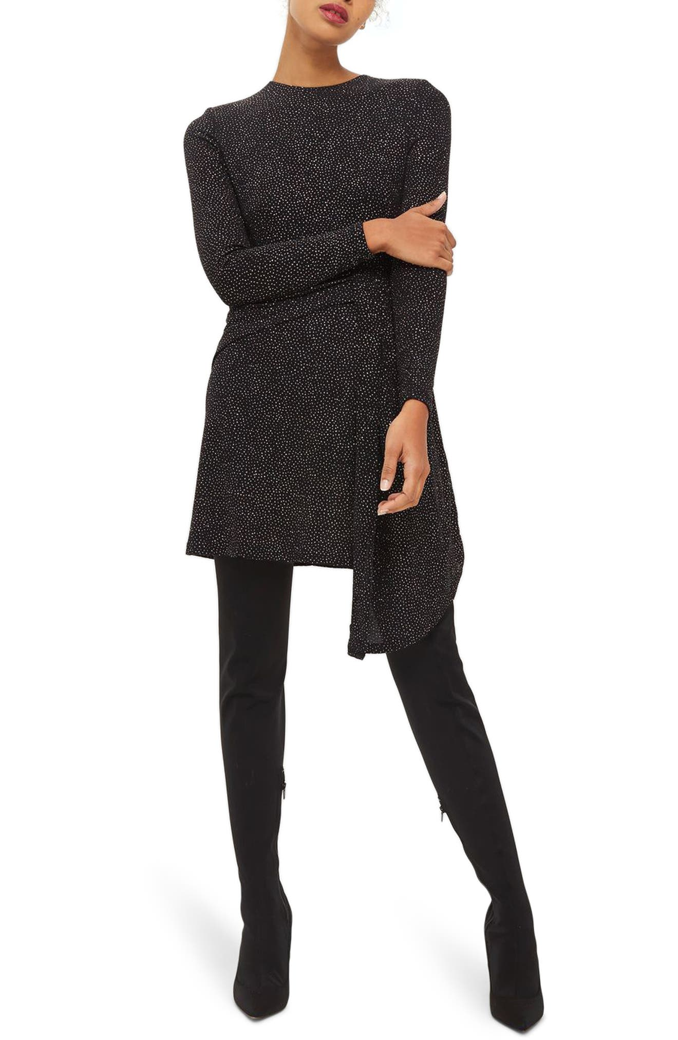 Asymmetrical Drape Glitter Dress,                         Main,                         color, Black Multi